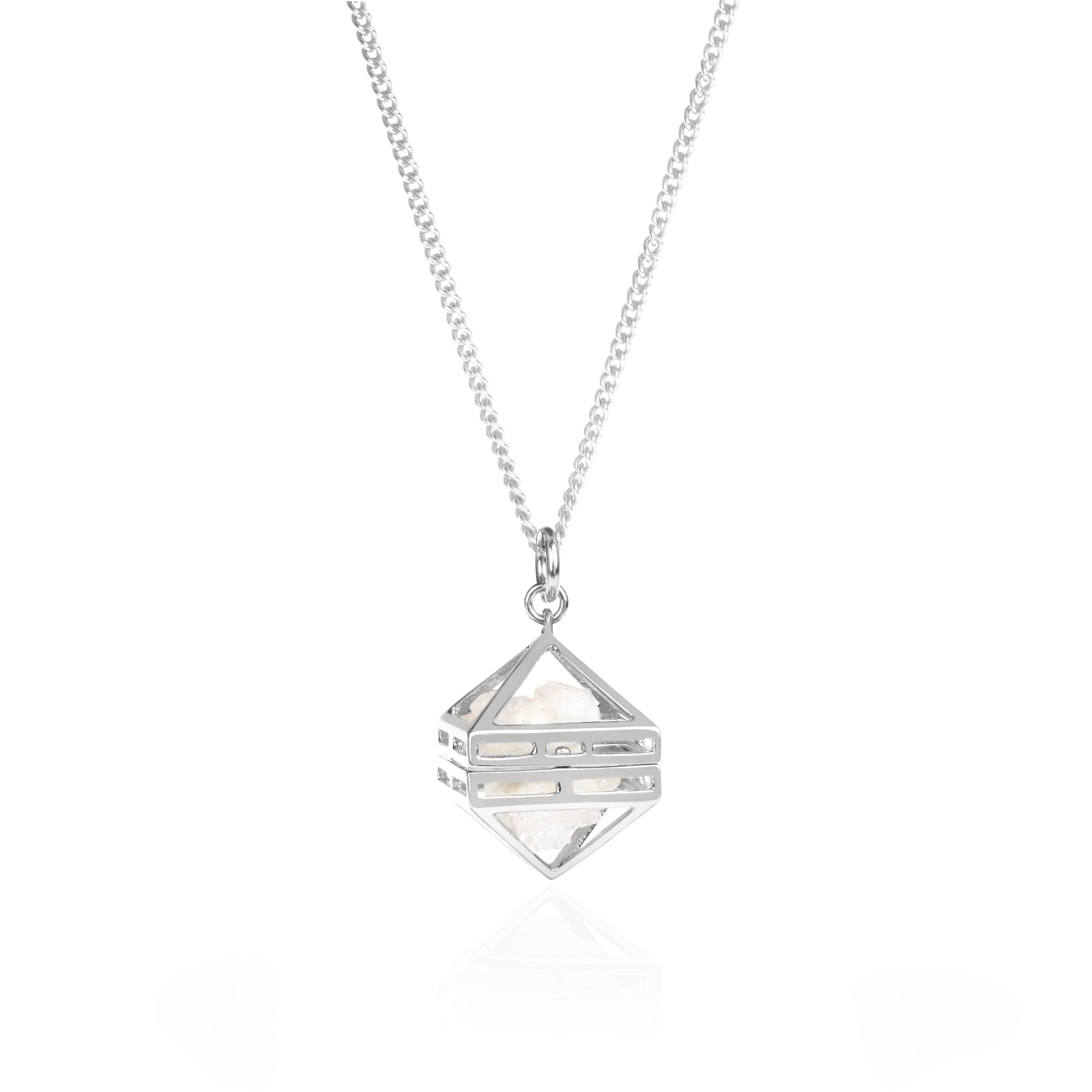 White Beauty Within Pendant, Silver 80cm by Sally Lane Jewellery on curated-crowd.com