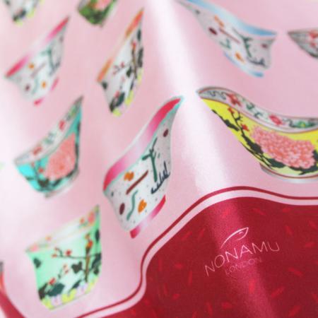 Porcelain Teatime Teacup Silk Scarf - Garnet & Pink by Nonamu on curated-crowd.com