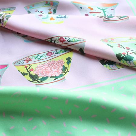 Porcelain Teatime Teacup Silk Scarf - Mint Green & Pink by Nonamu on curated-crowd.com
