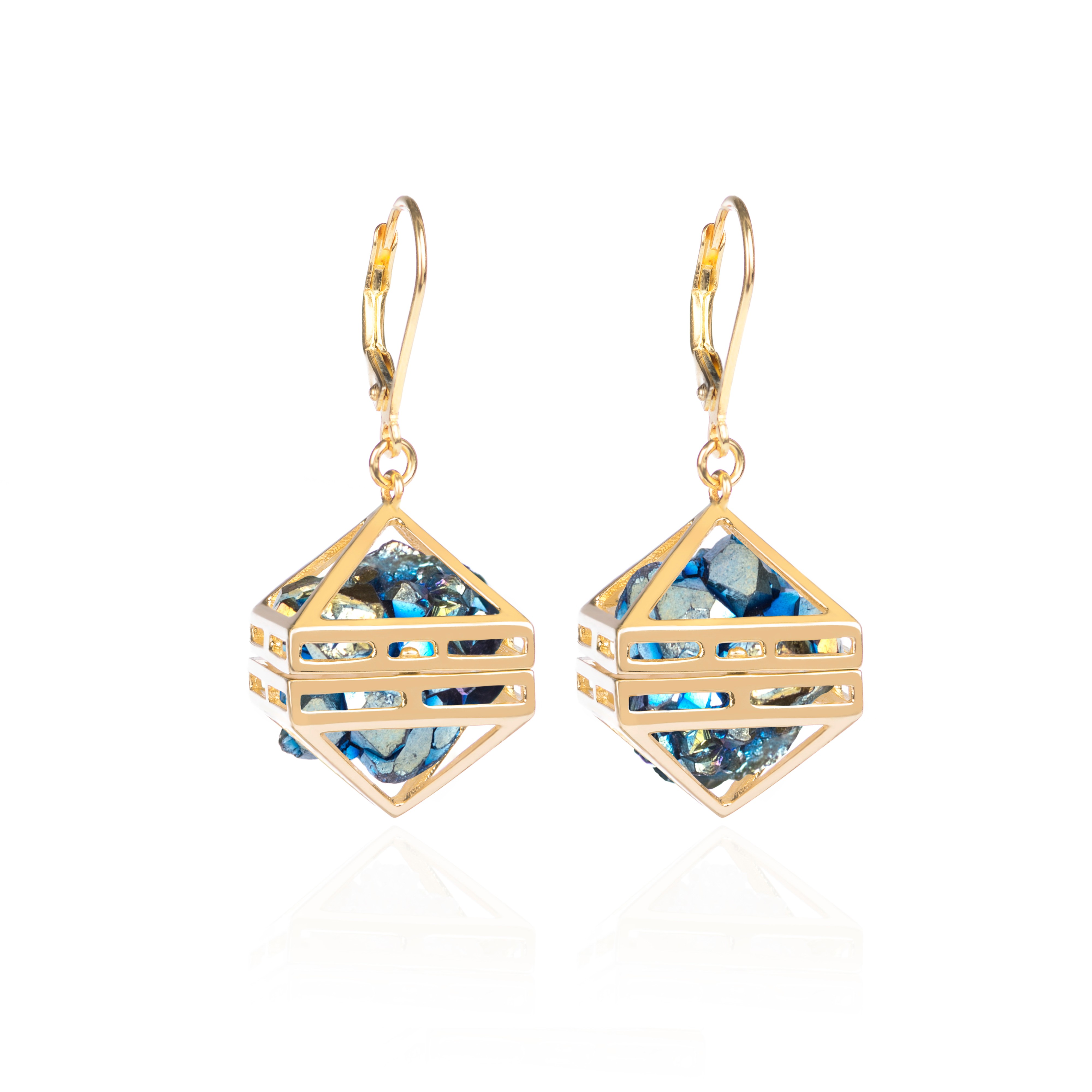 Blue Beauty Within Earrings, Gold by Sally Lane Jewellery on curated-crowd.com