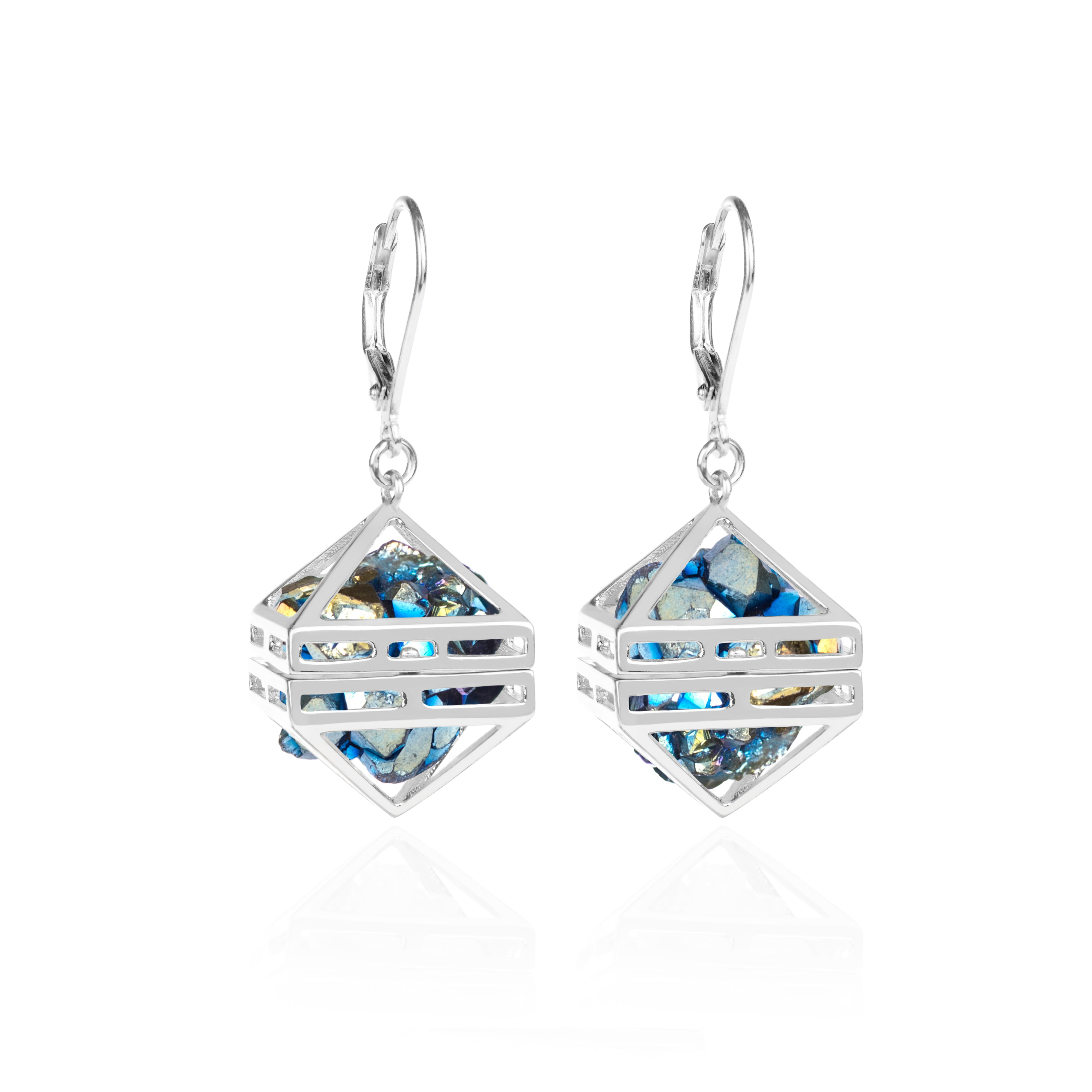Blue Beauty Within Earrings, Silver by Sally Lane Jewellery on curated-crowd.com