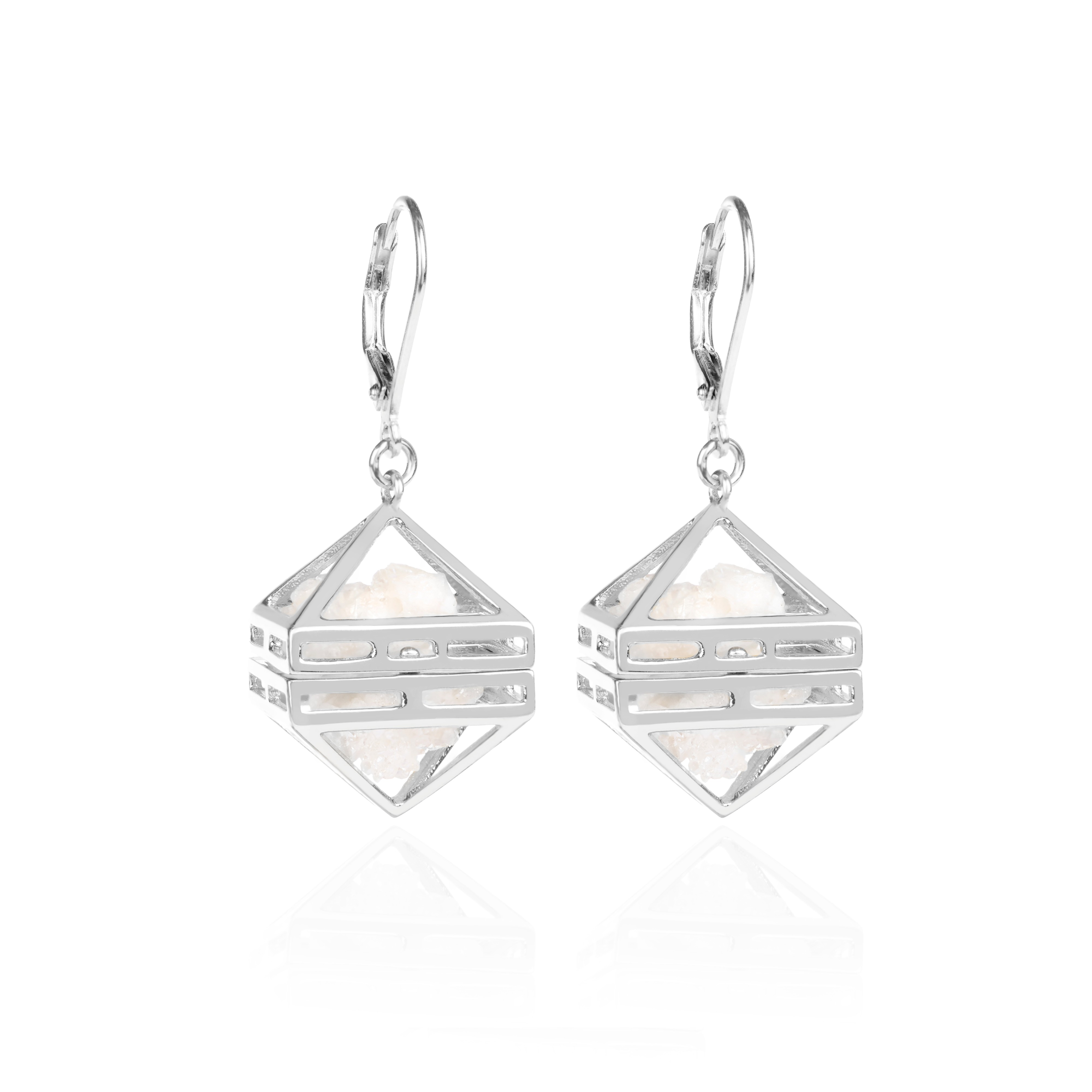 White Beauty Within Earrings, Silver by Sally Lane Jewellery on curated-crowd.com