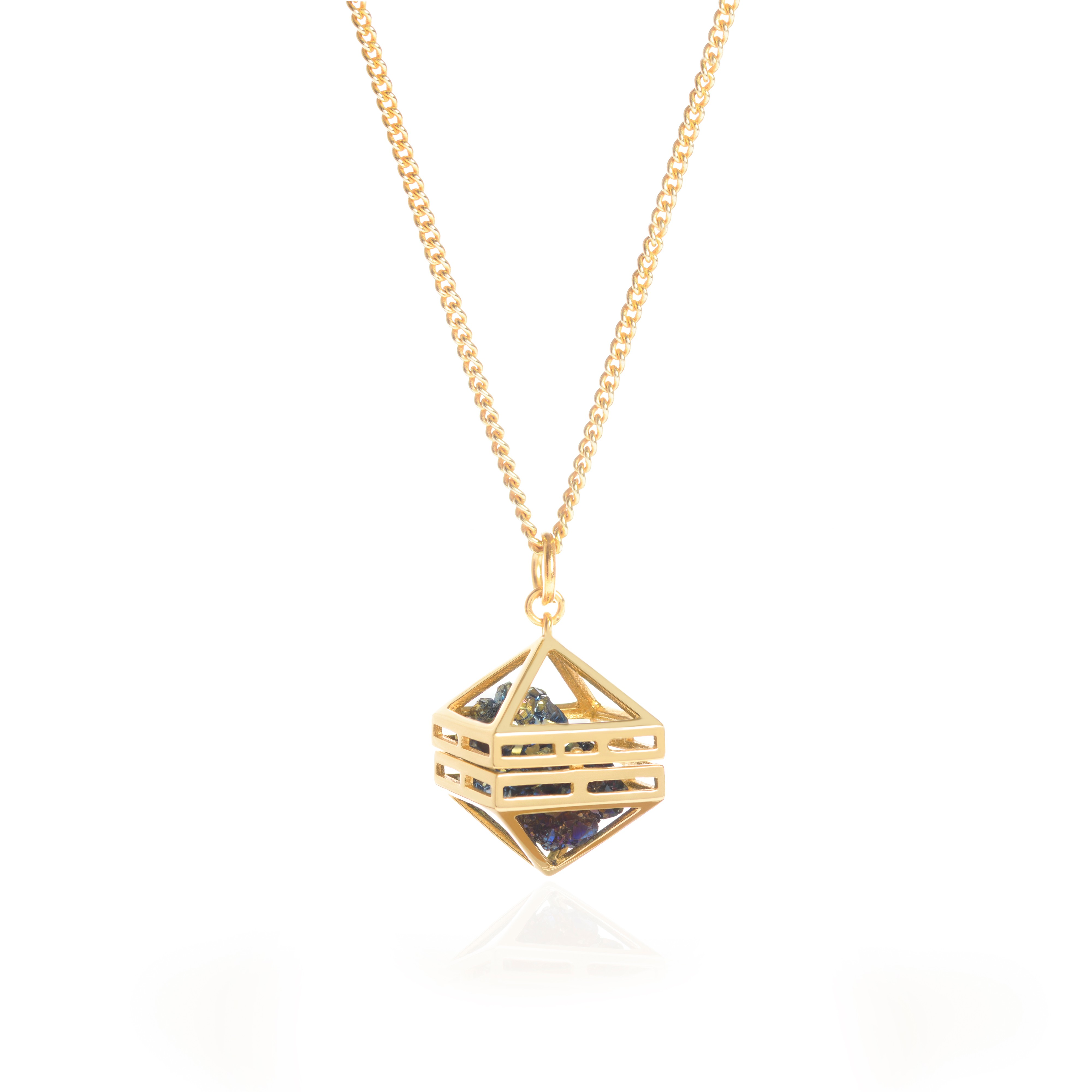 Blue Beauty Within Pendant, Gold 80cm by Sally Lane Jewellery on curated-crowd.com