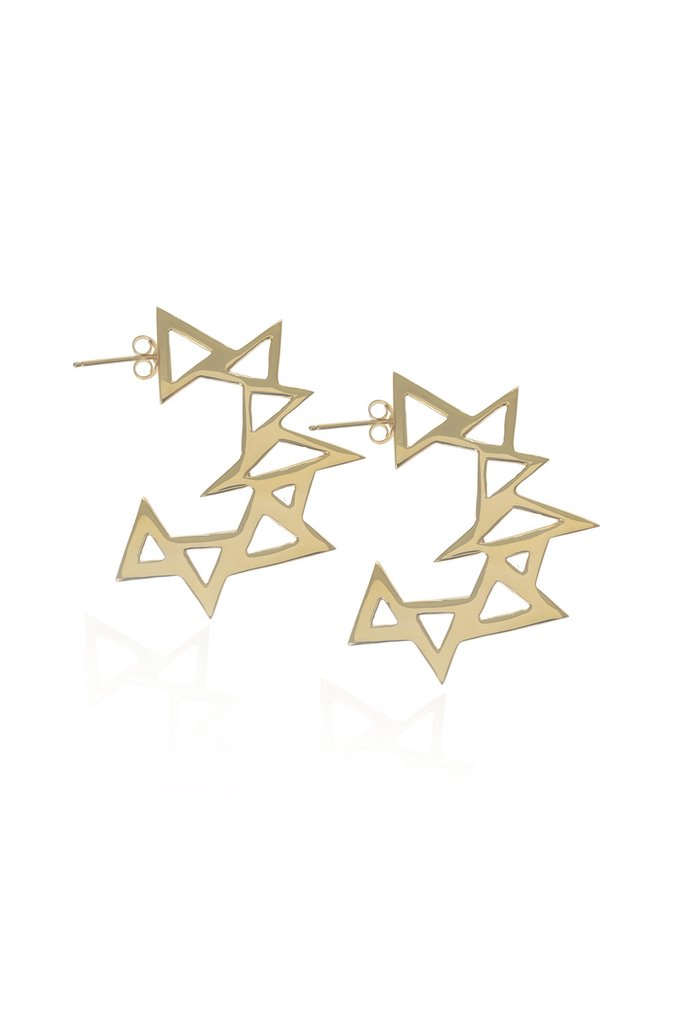 Throwing Star, Gold Earrings by Sally Lane Jewellery on curated-crowd.com