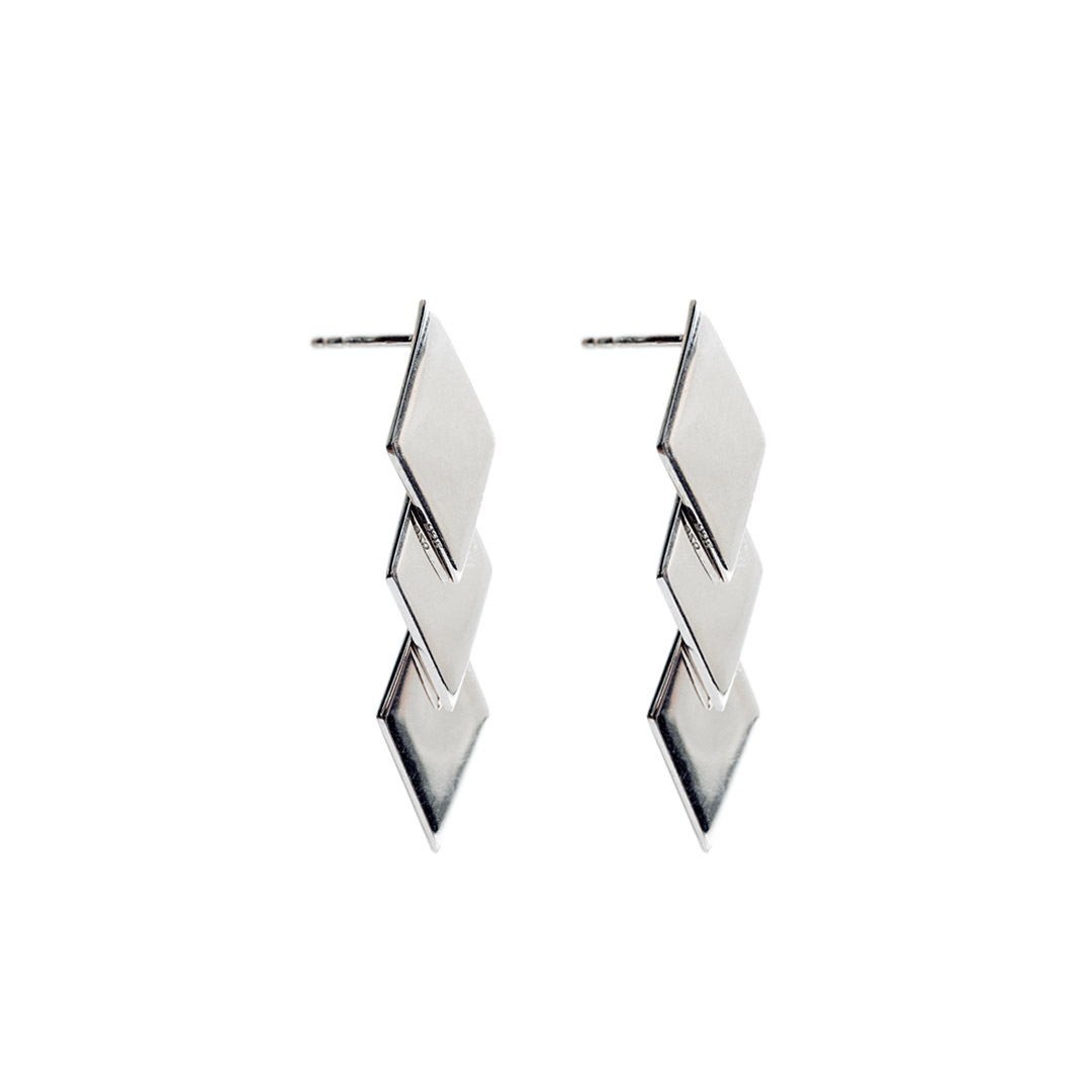 Rhombus Earrings, Silver by The Straits Finery on curated-crowd.com