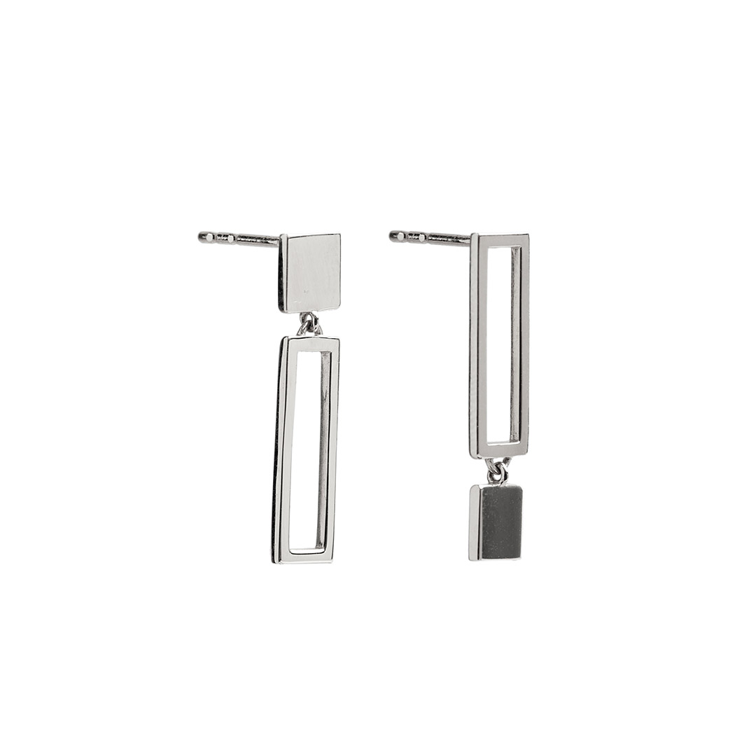 Frame Earrings, SIlver by The Straits Finery on curated-crowd.com