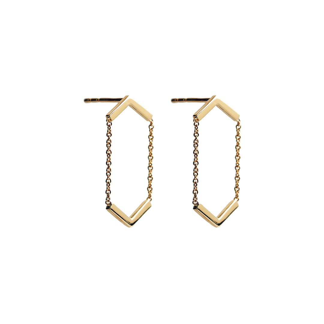 Line Earrings, 14k Gold by The Straits Finery on curated-crowd.com