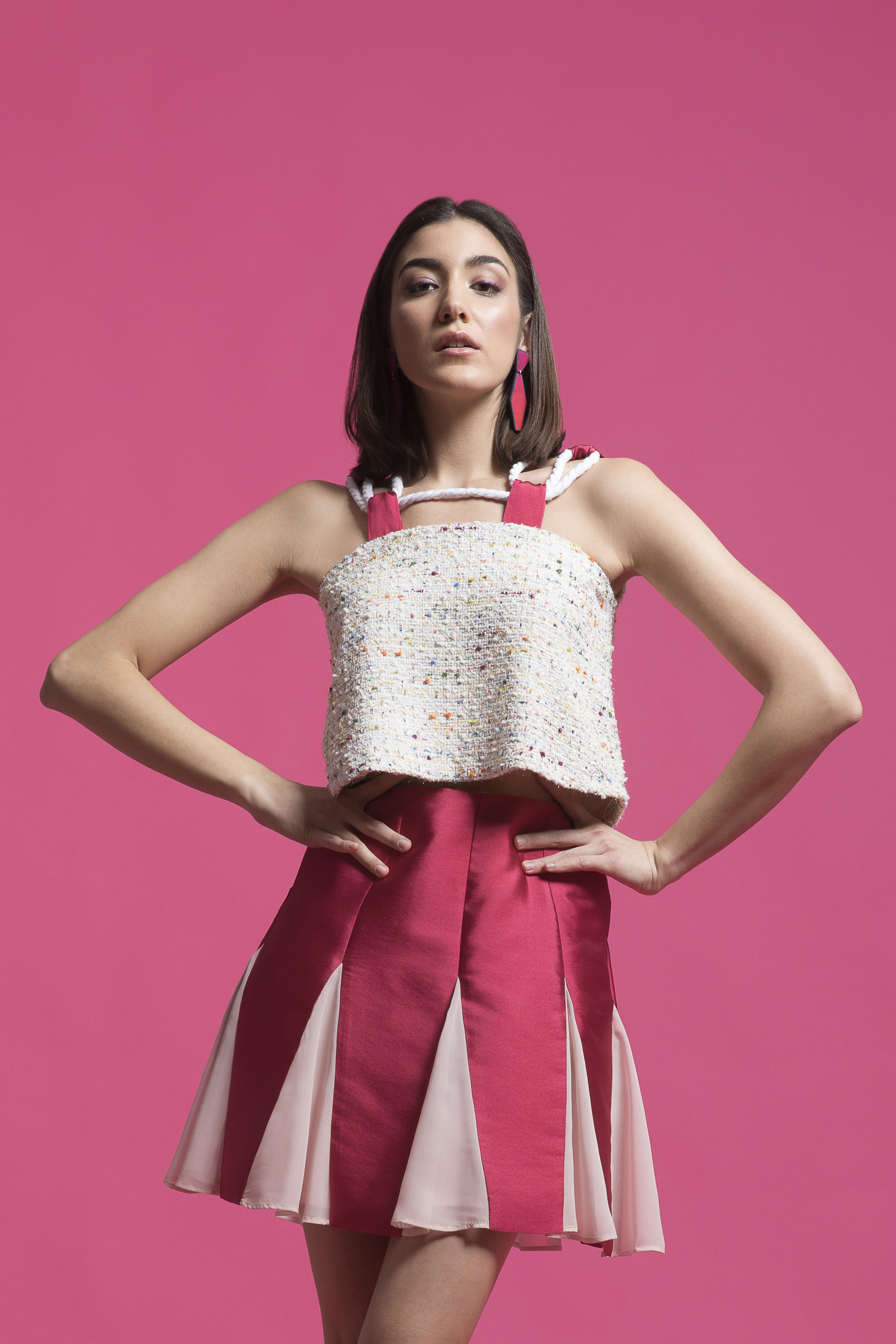 Two toned A-line skirt with chiffon godets by The MAnnequin Collection on curated-crowd.com