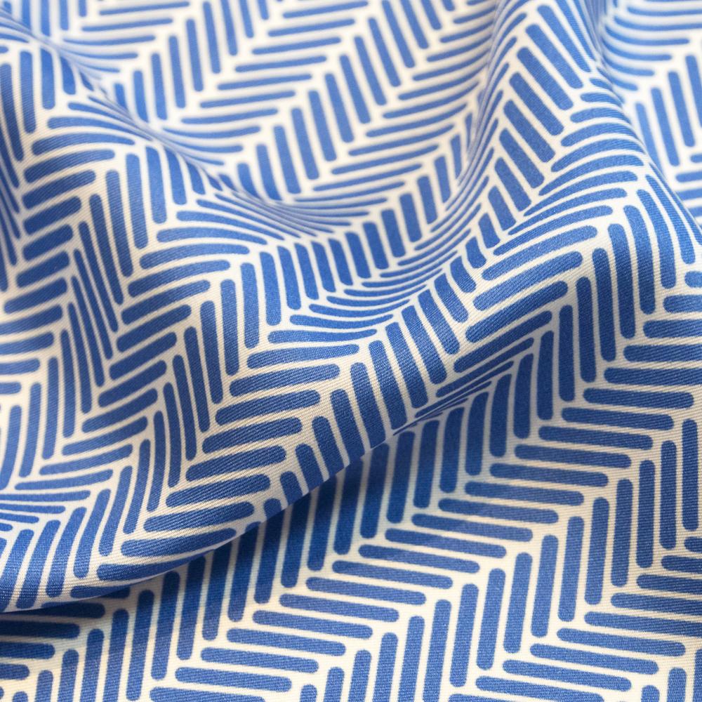 Herringbone Lapis Silk Scarf, Azure Blue by Nonamu on curated-crowd.com