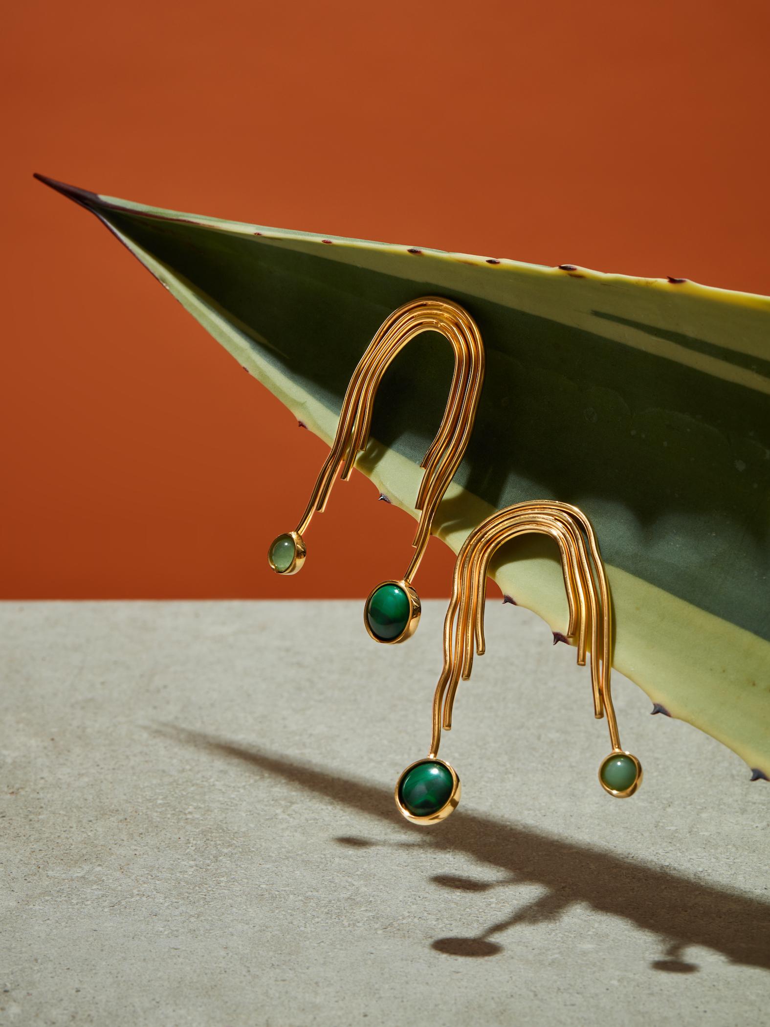 Cascada Malachite and Jade Earrings by Jill Hopkins Jewellery on curated-crowd.com