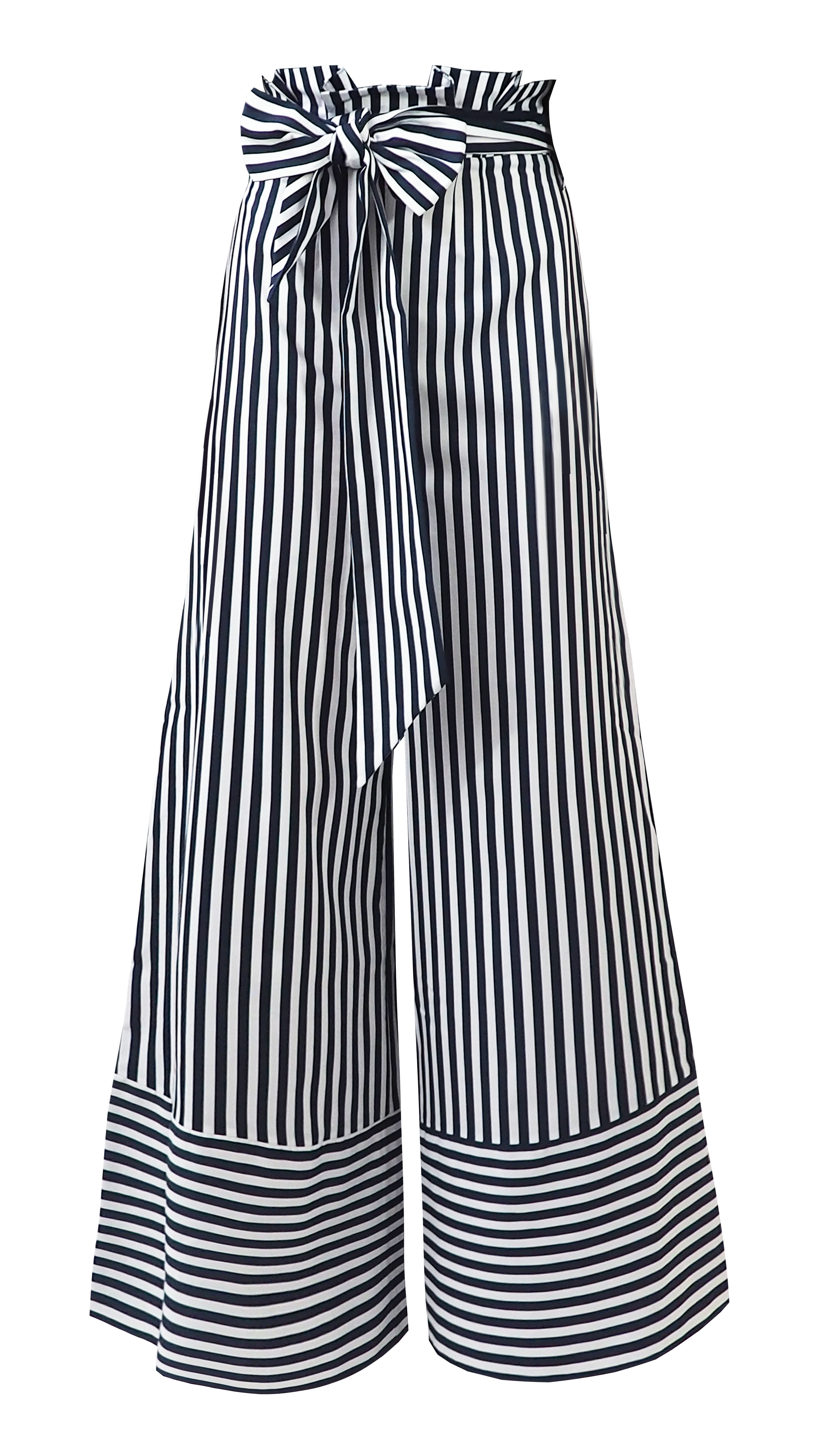 Flare Trousers, Navy Stripes by Georgia Hardinge on curated-crowd.com