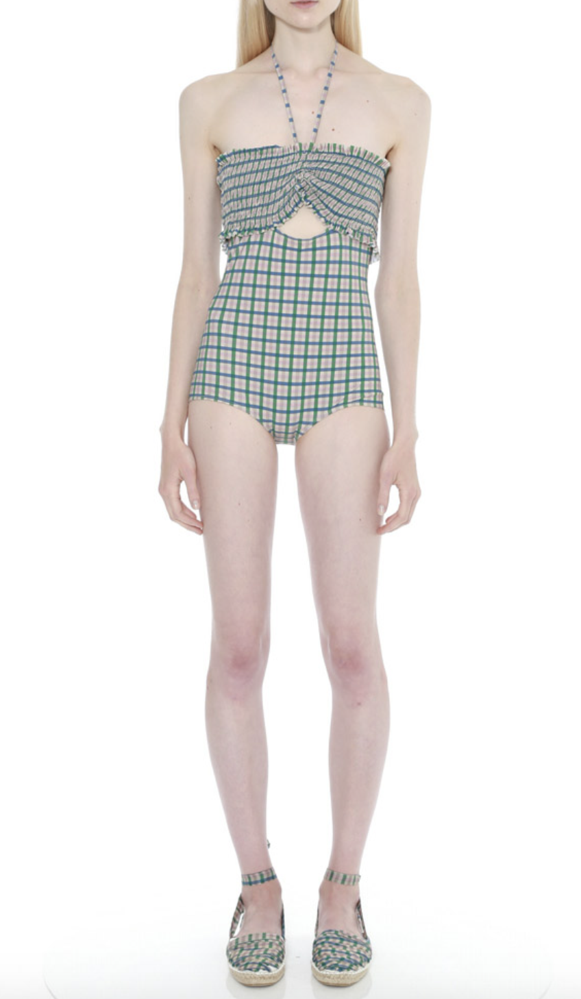 Rieley Check Ruched Bust Swimsuit by Teija on curated-crowd.com