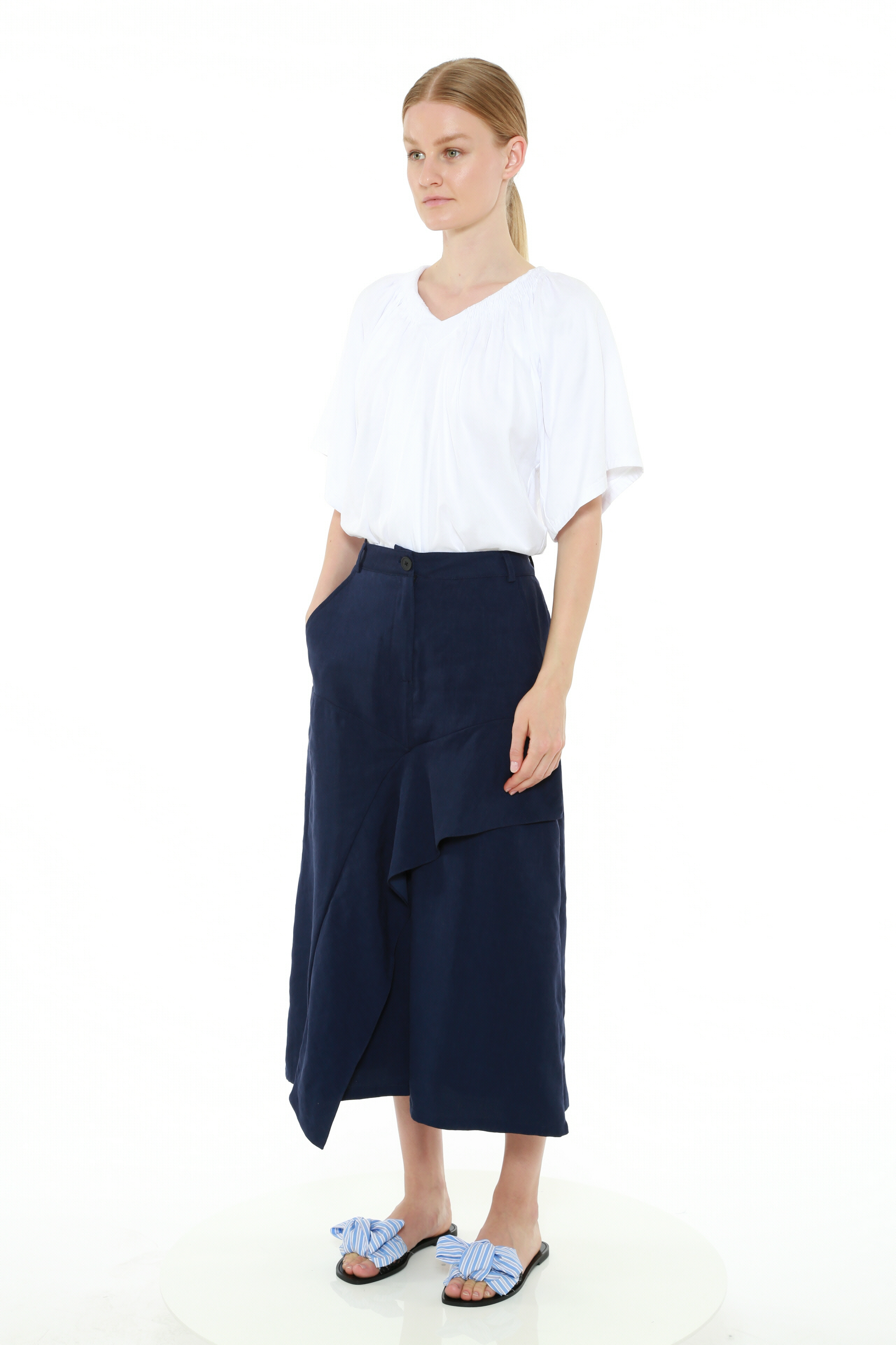 Cotton Jersey Smocked V-Neck Tee by Teija on curated-crowd.com