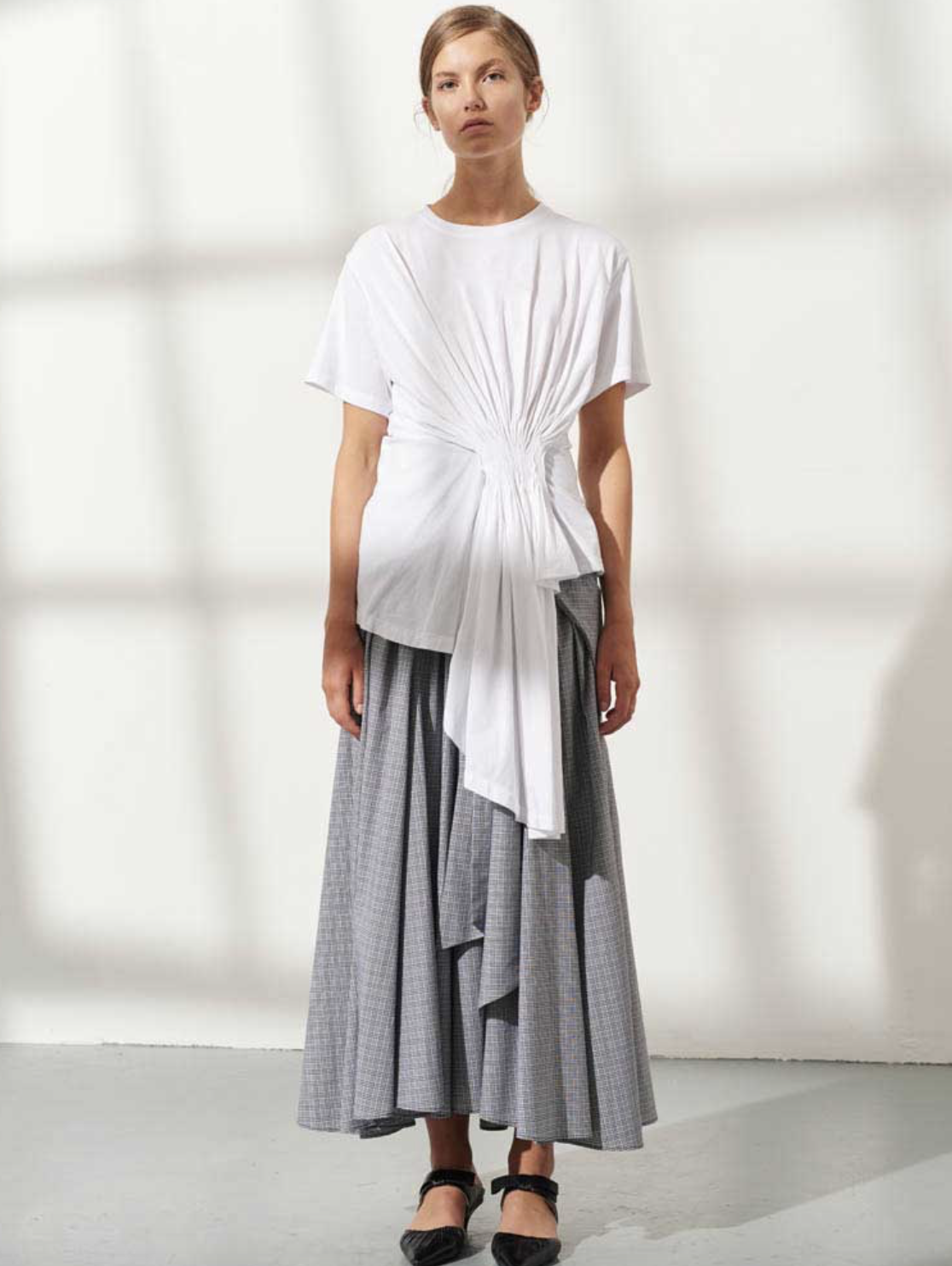 Cotton Jersey Asymmetrical Draped Tee by Teija on curated-crowd.com