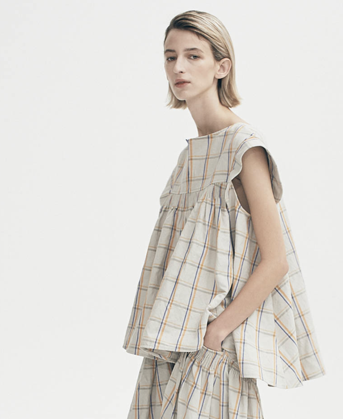 Fairfax Linen Check Sleeveless Top by Teija on curated-crowd.com