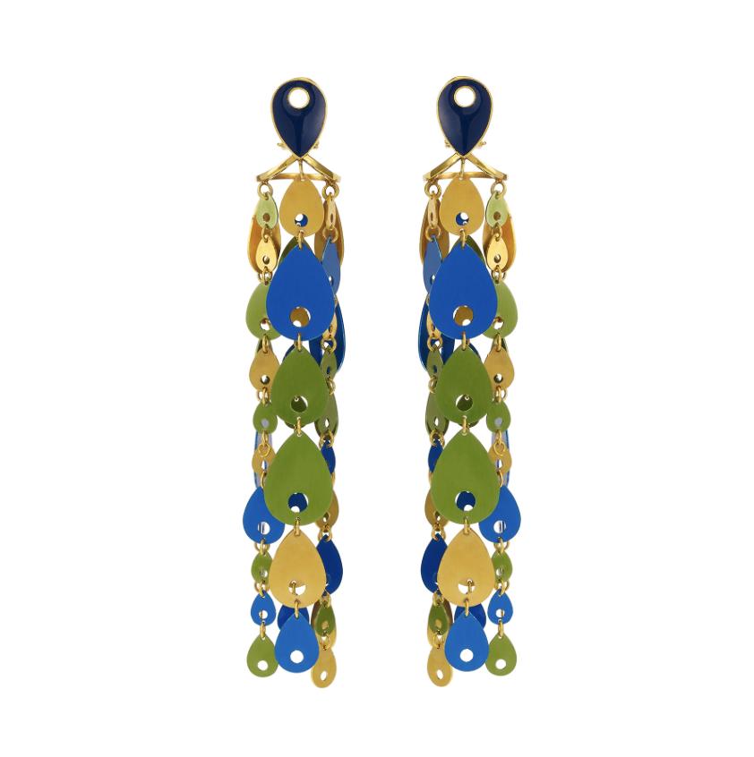 Waterfall Earrings Peacock by Taal Noir on curated-crowd.com