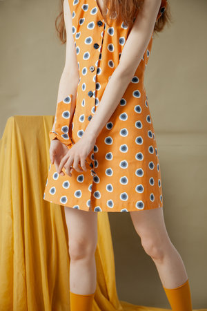 Xing | Orange Sleeveless Jeans Dress by YUNZO on curated-crowd.com