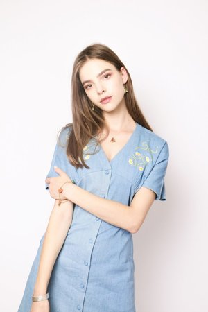 Moonlight   Cotton Jeans Long Dress With Hand Embroidery by YUNZO on curated-crowd.com