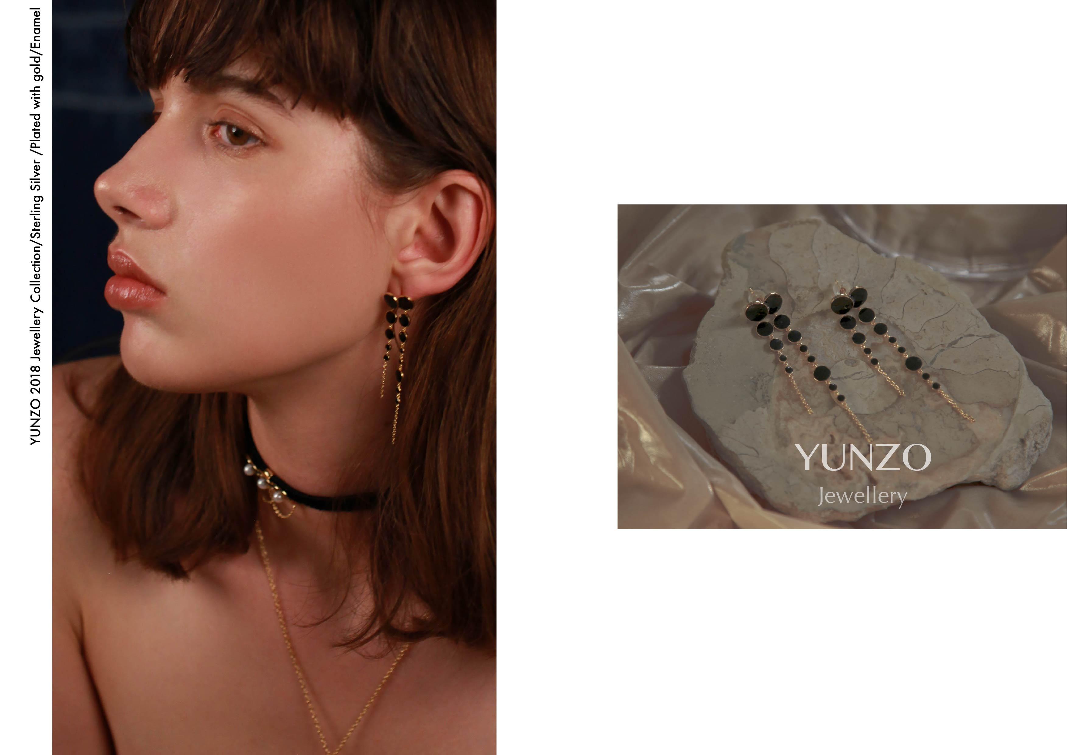 Gold Black Enamel Drop Earrings by YUNZO on curated-crowd.com
