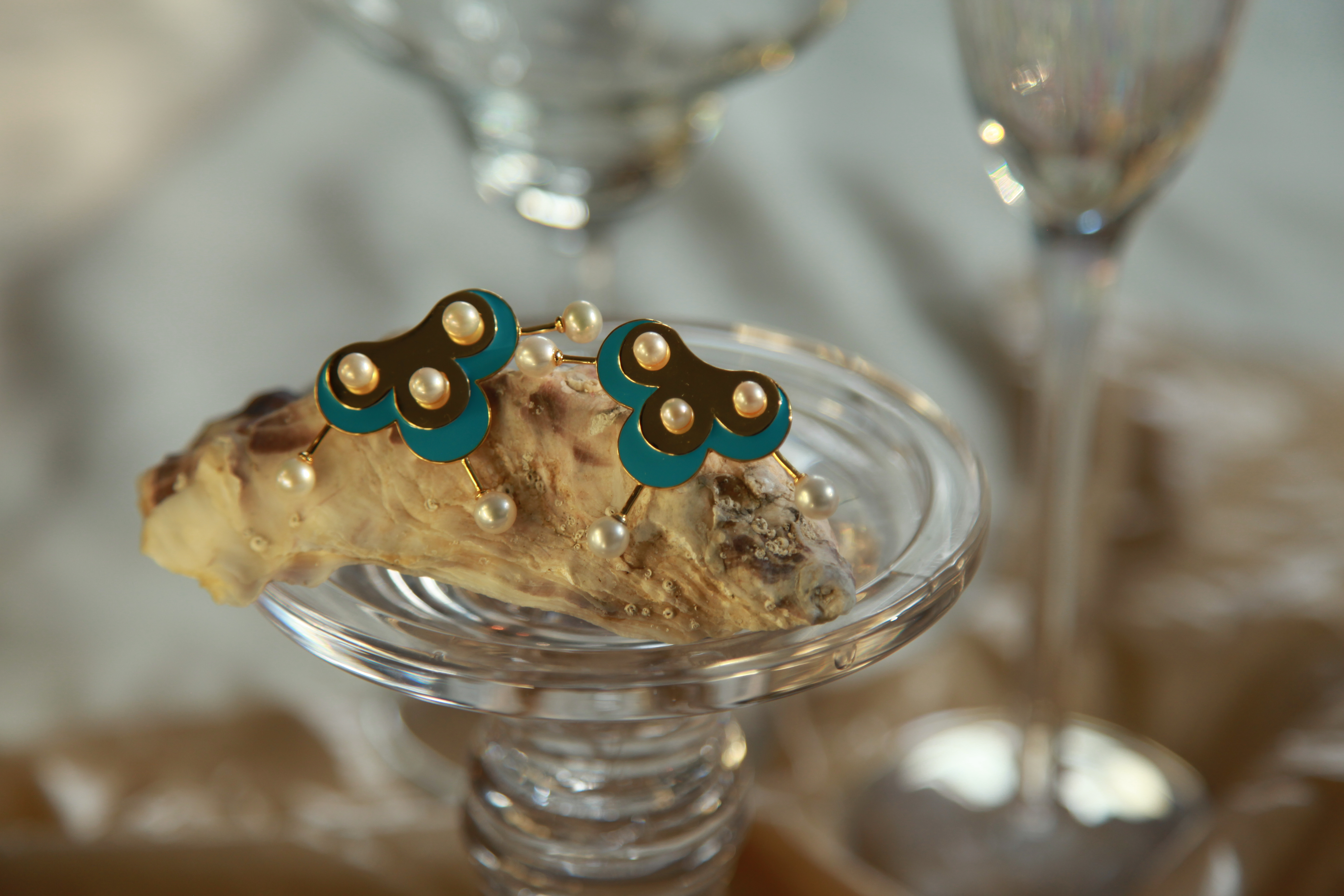 Gold Light Blue Enamel Pearl Stud Earrings by YUNZO on curated-crowd.com