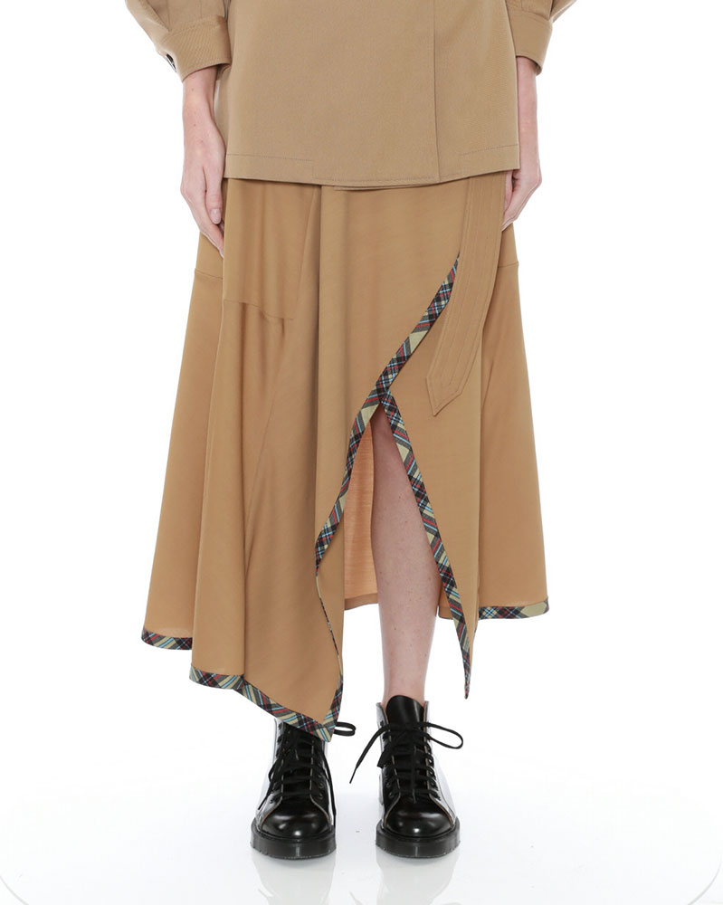 Draped A-line Skirt with Fixed Wrap by Teija on curated-crowd.com