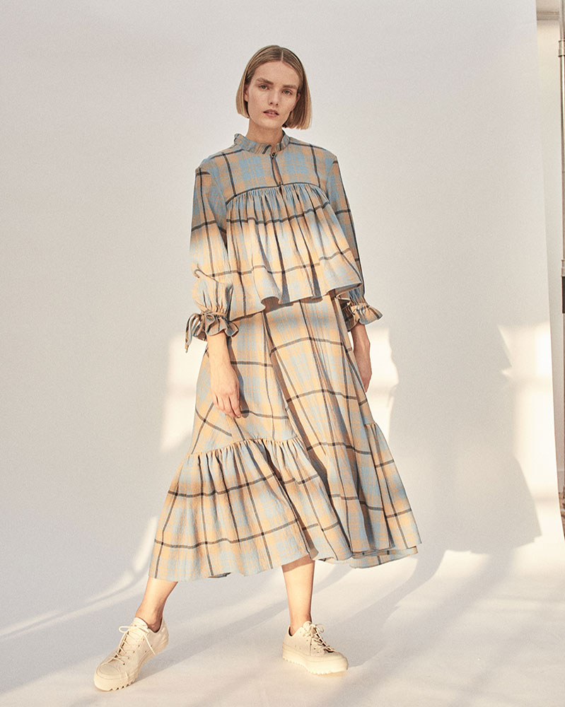 Layered Wool Dress with Smocking by Teija on curated-crowd.com