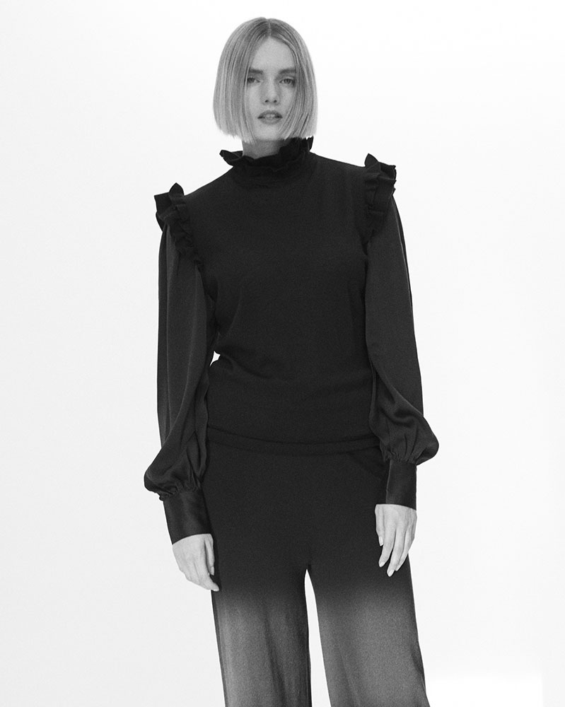 Merino Sweater with Silk Sleeves by Teija on curated-crowd.com
