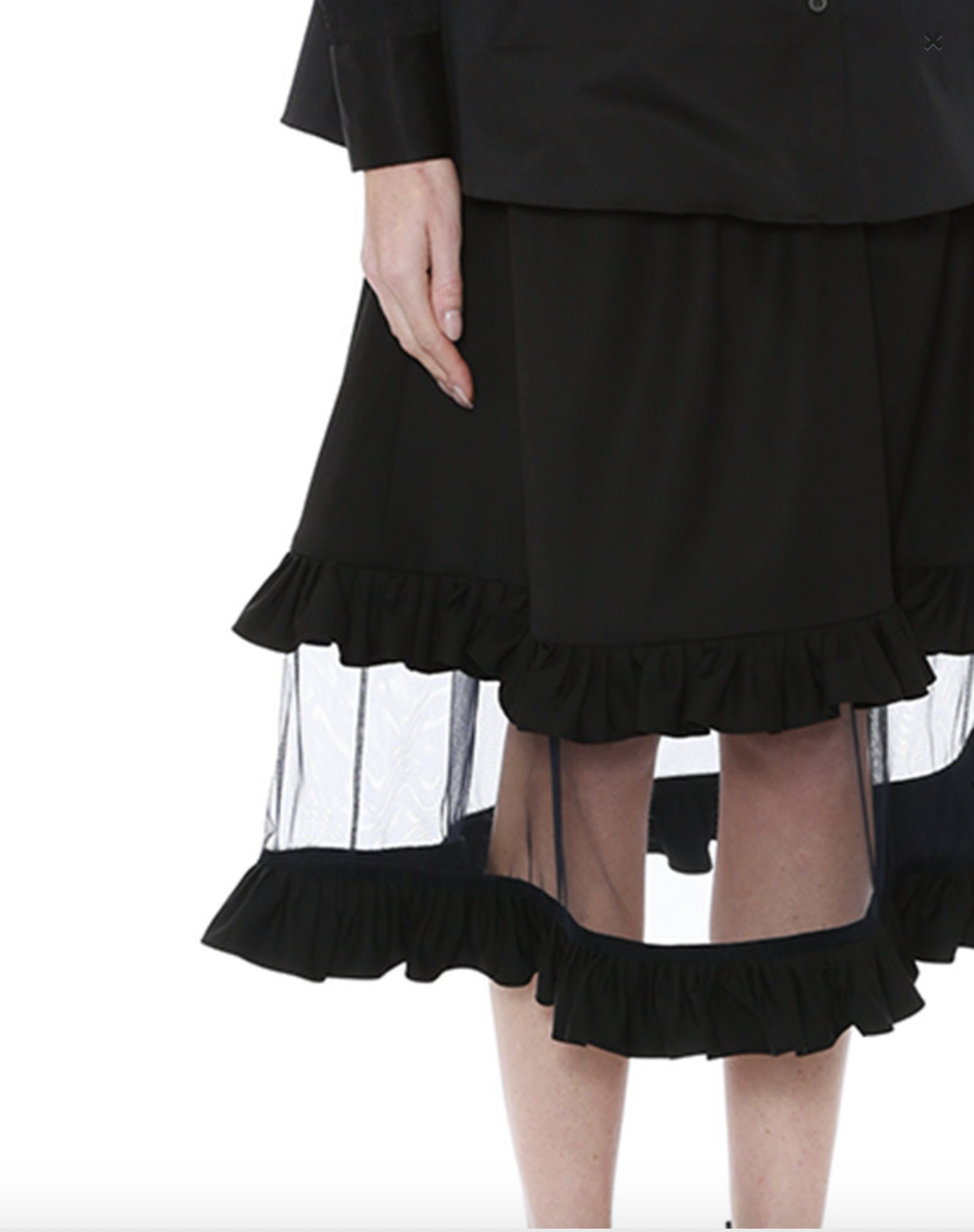 Ruffled Wool Skirt with Tulle Panel by Teija on curated-crowd.com