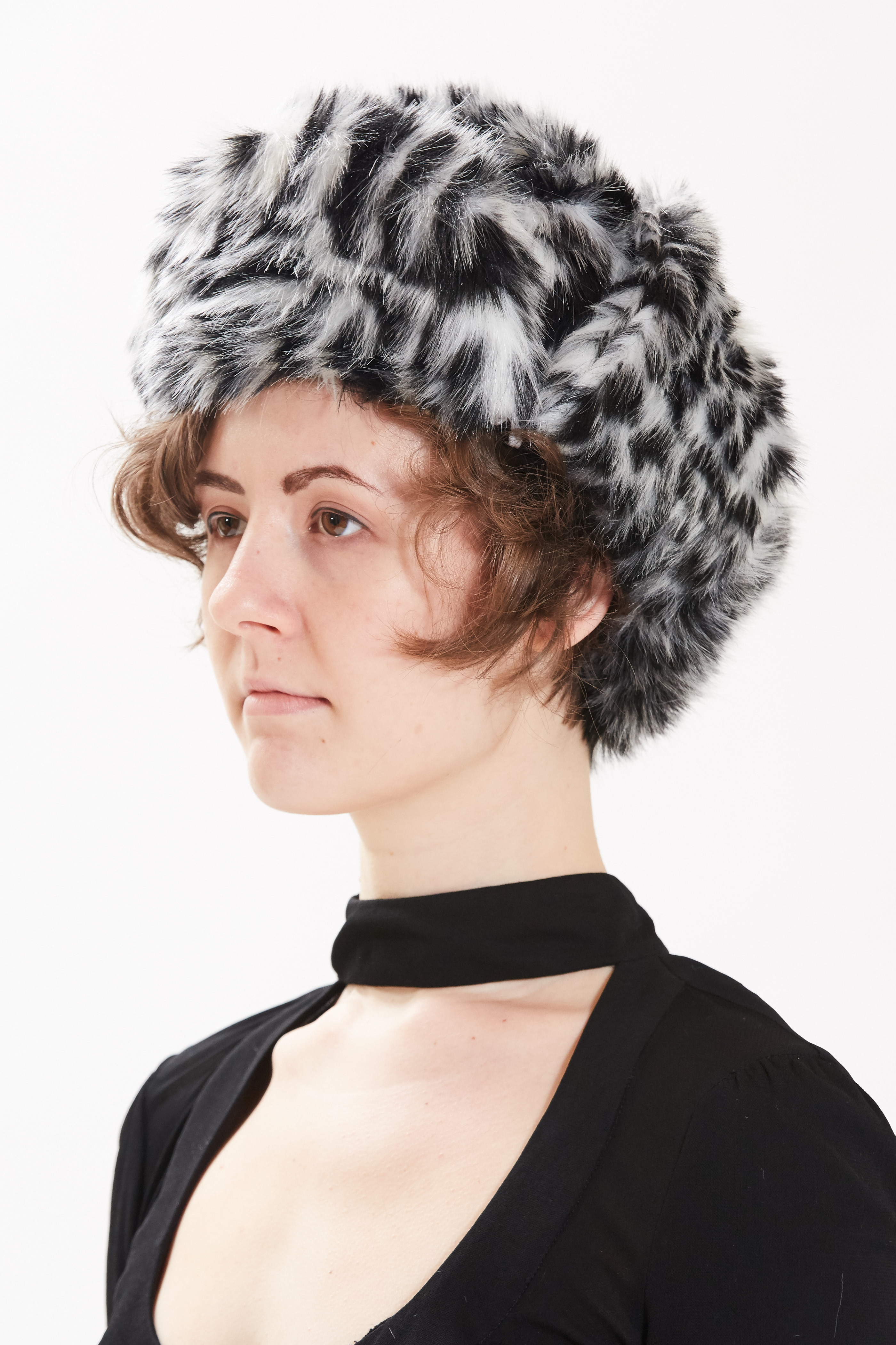 Trapper Hat - Black Cross Mink by Maison Atia on curated-crowd.com
