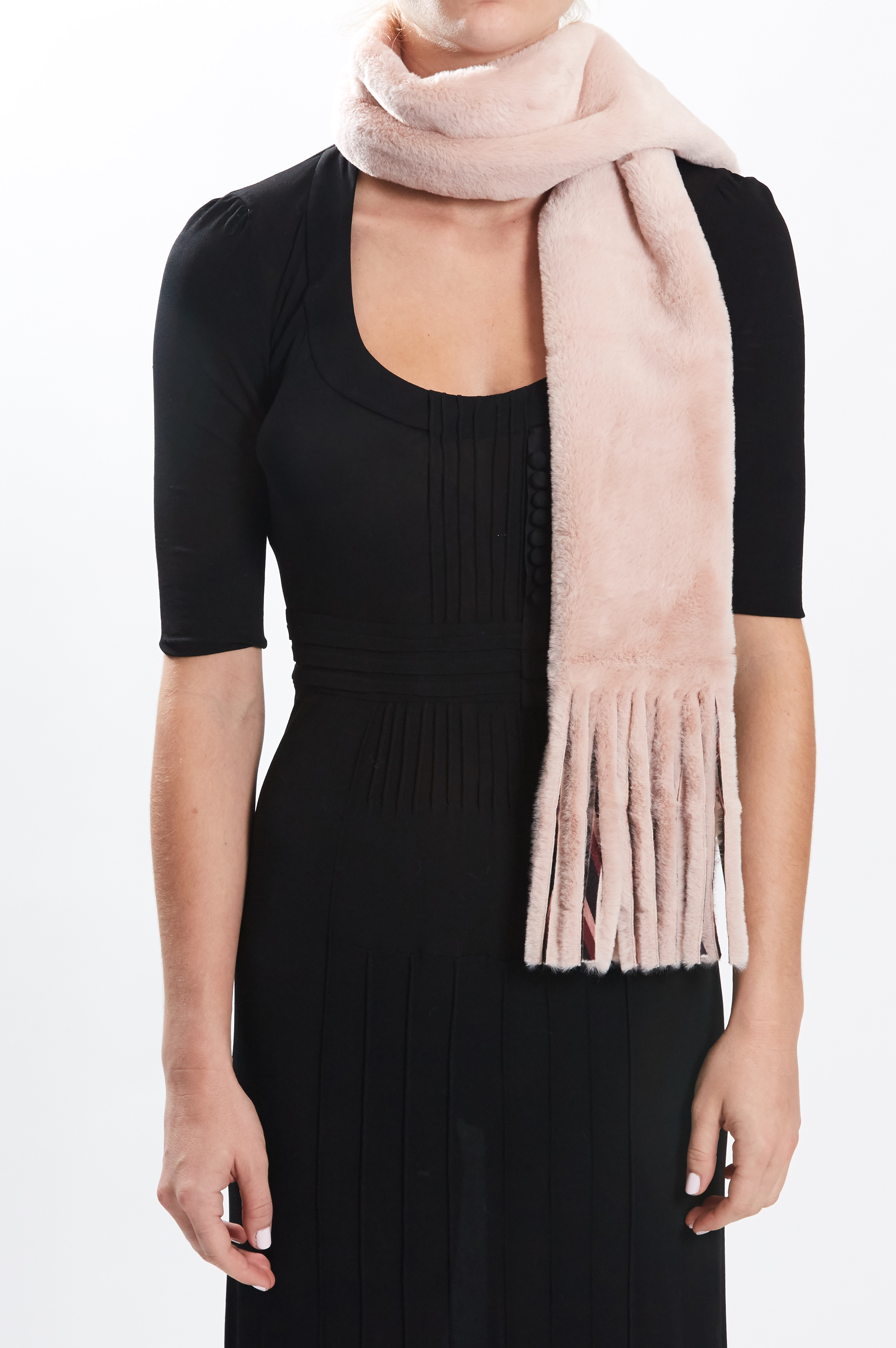 Fringe Scarf - Rose/Chevron by Maison Atia on curated-crowd.com