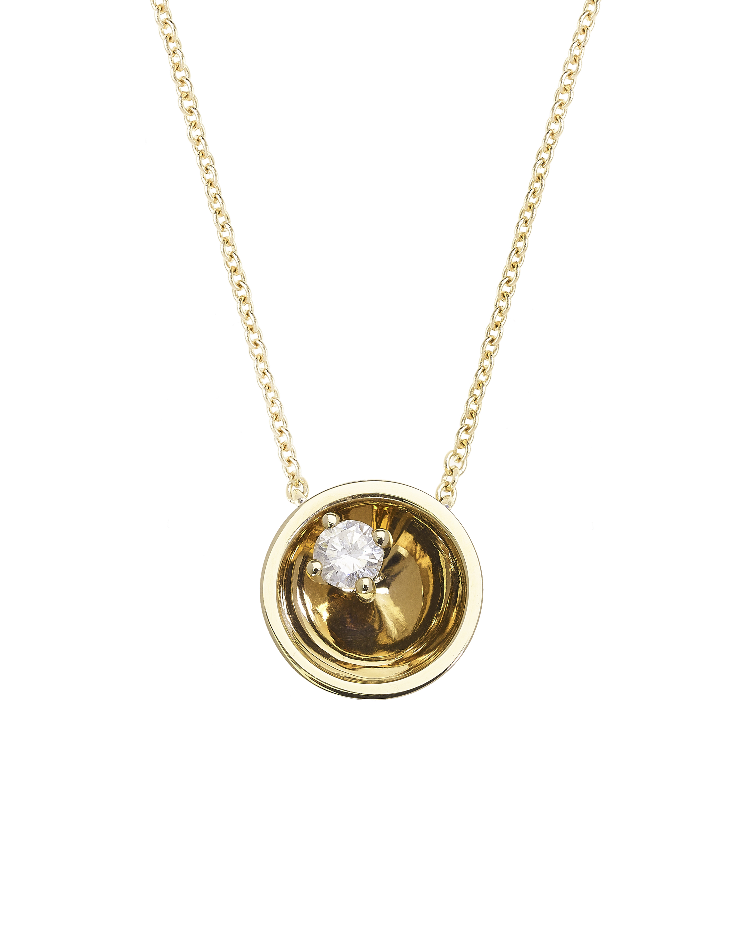 Large Floating Star Diamond Yellow Gold Necklace by Marmari on curated-crowd.com