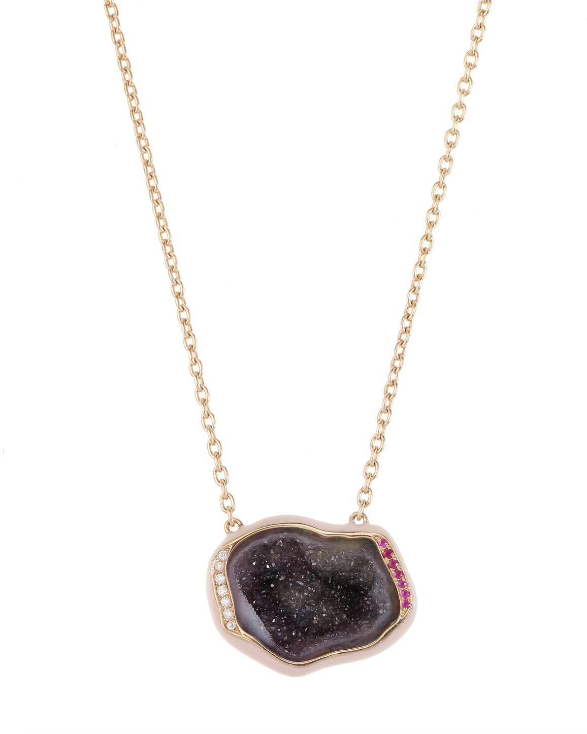 Shell Enamel Geode Necklace by Marmari on curated-crowd.com