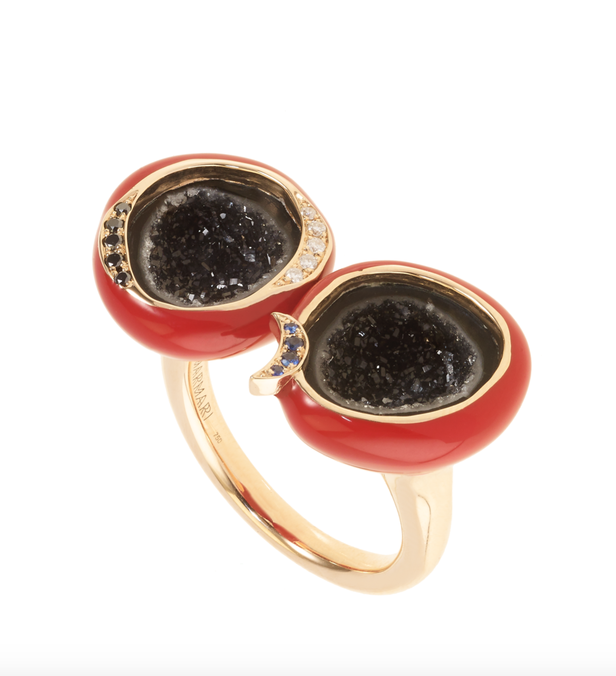 Scarlet Enamel Double Geode Ring by Marmari on curated-crowd.com