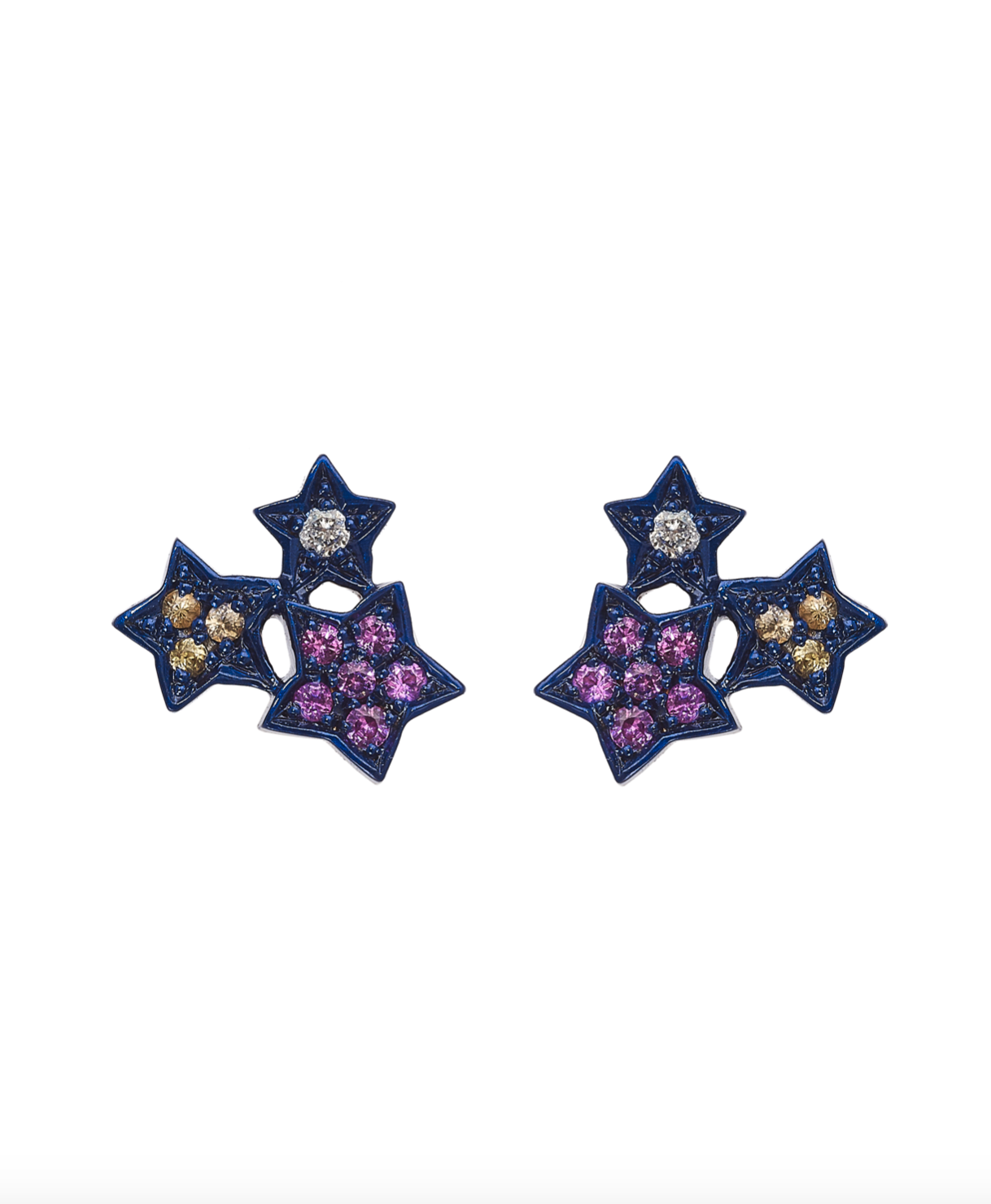 Midnight Colorful Star Cluster Earrings by Marmari on curated-crowd.com