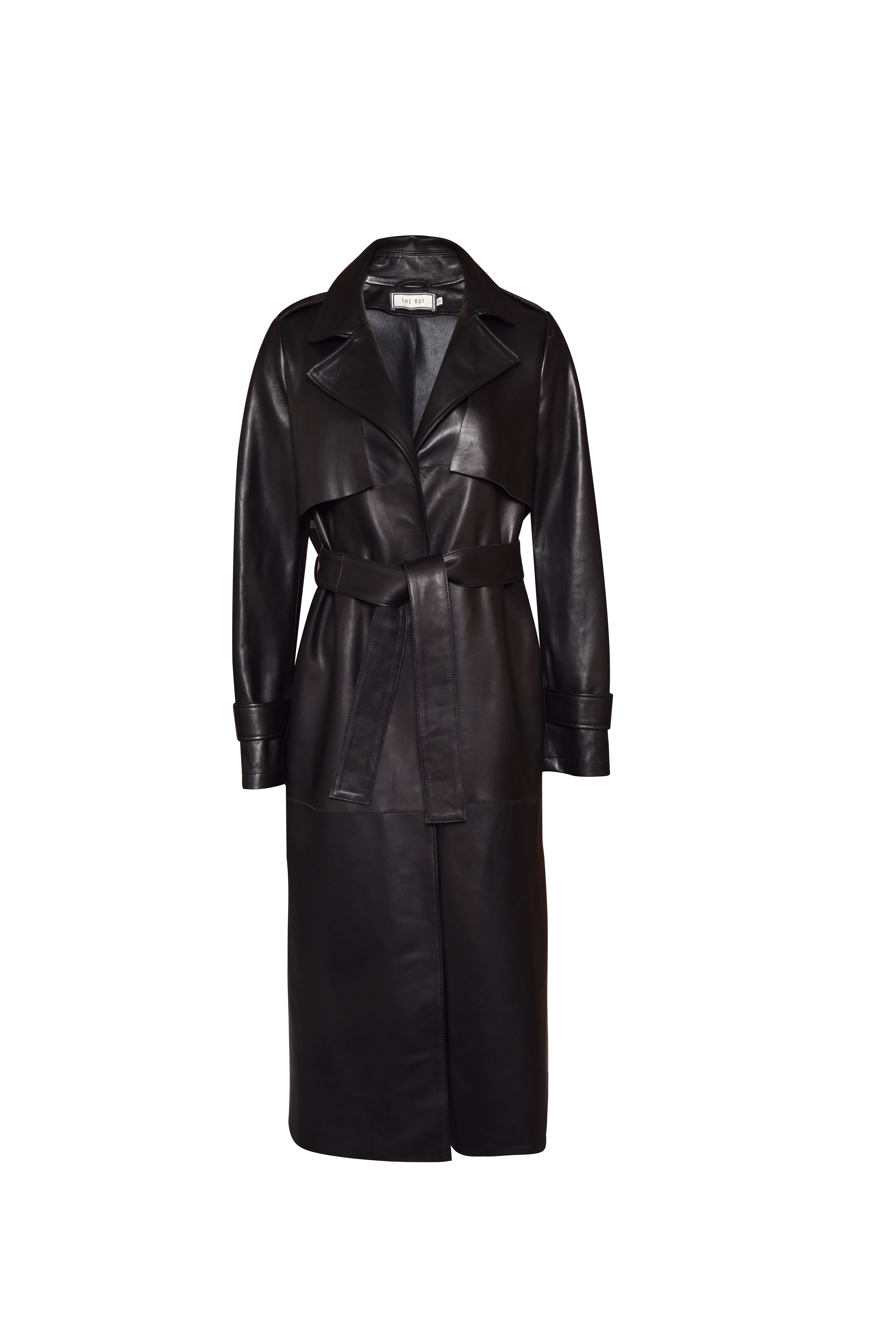 Leather Trenchcoat - Black by The Ruf on curated-crowd.com