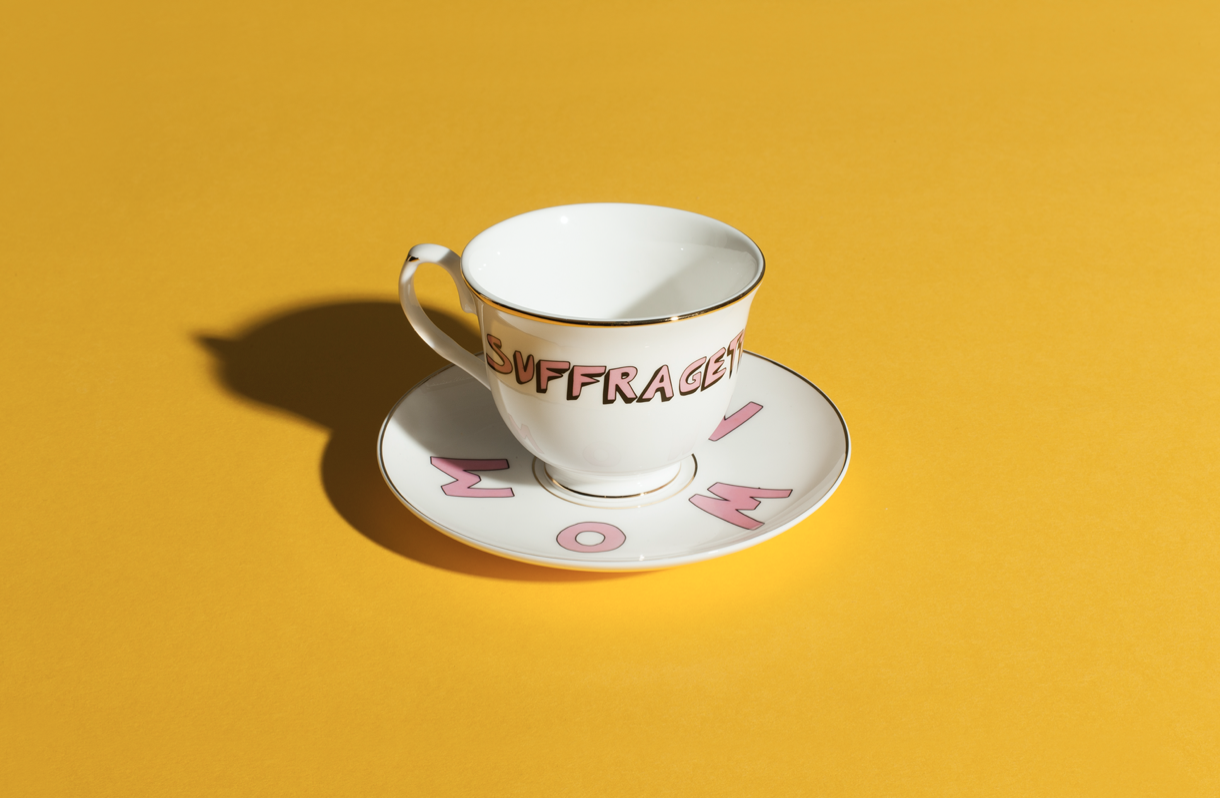 Bella Freud x Gillian Wearing Range Tea Cup & Saucer by Plinth on curated-crowd.com
