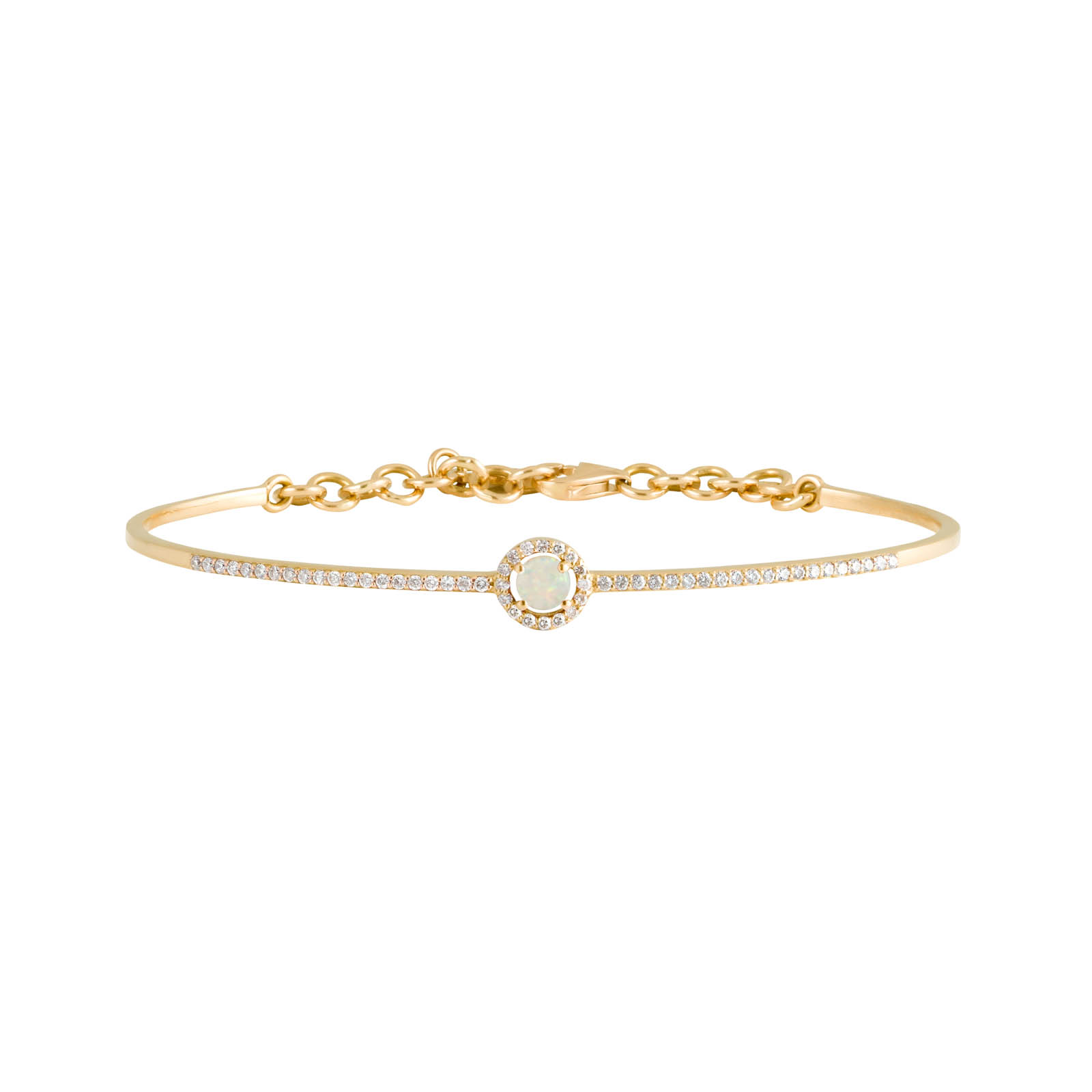 Orbit Bangle – Opal and Diamond Yellow Gold by Daou Jewellery on curated-crowd.com