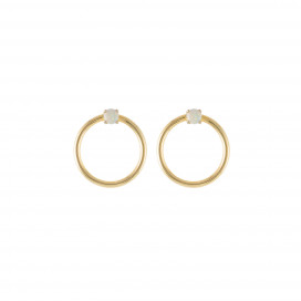 Orbit Earrings – Opal Gold Hoops by Daou Jewellery on curated-crowd.com