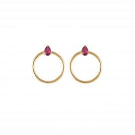 Orbit Pear Earrings – Ruby Yellow Gold Hoops by Daou Jewellery on curated-crowd.com
