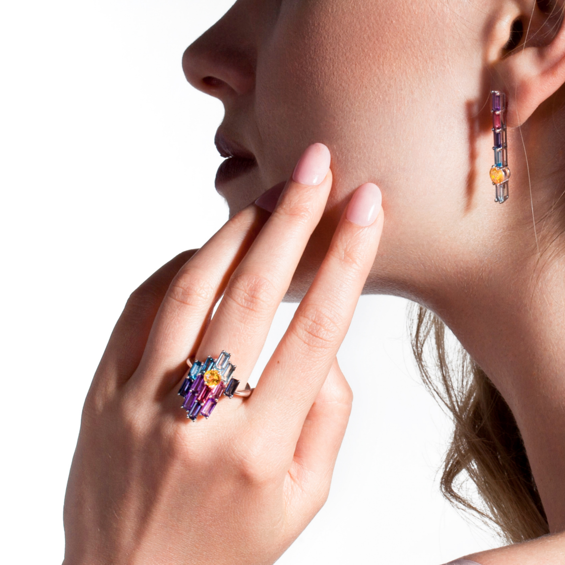 Sunset Sunrise Bright Ring – Yellow Sapphire, Graduated Baguettes, White Gold by Daou Jewellery on curated-crowd.com