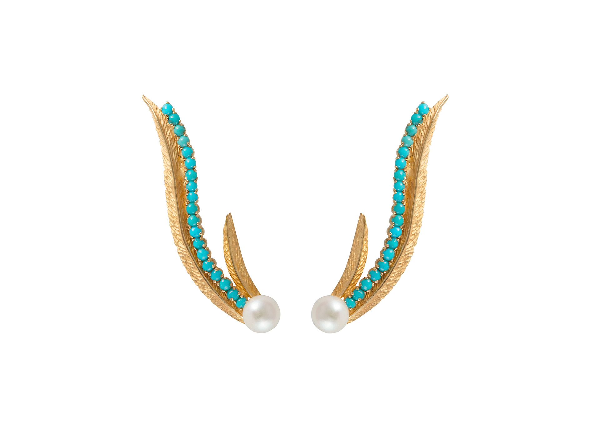 Phoenix Heritage Earrings – Textured Yellow Gold Turquoise and Pearl by Daou Jewellery on curated-crowd.com