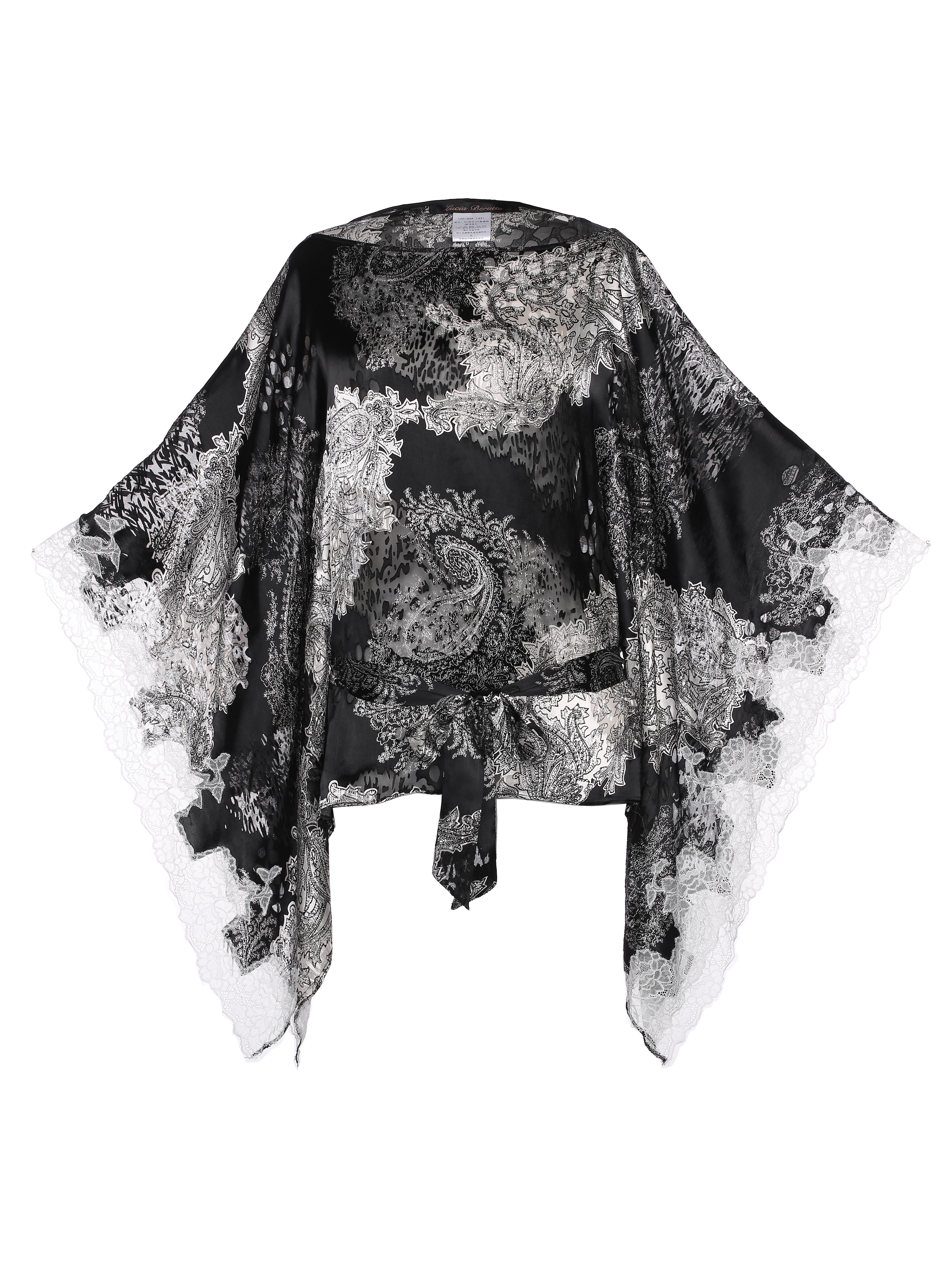 Silk & Lace Belt Kimono by Lucia Berutto on curated-crowd.com