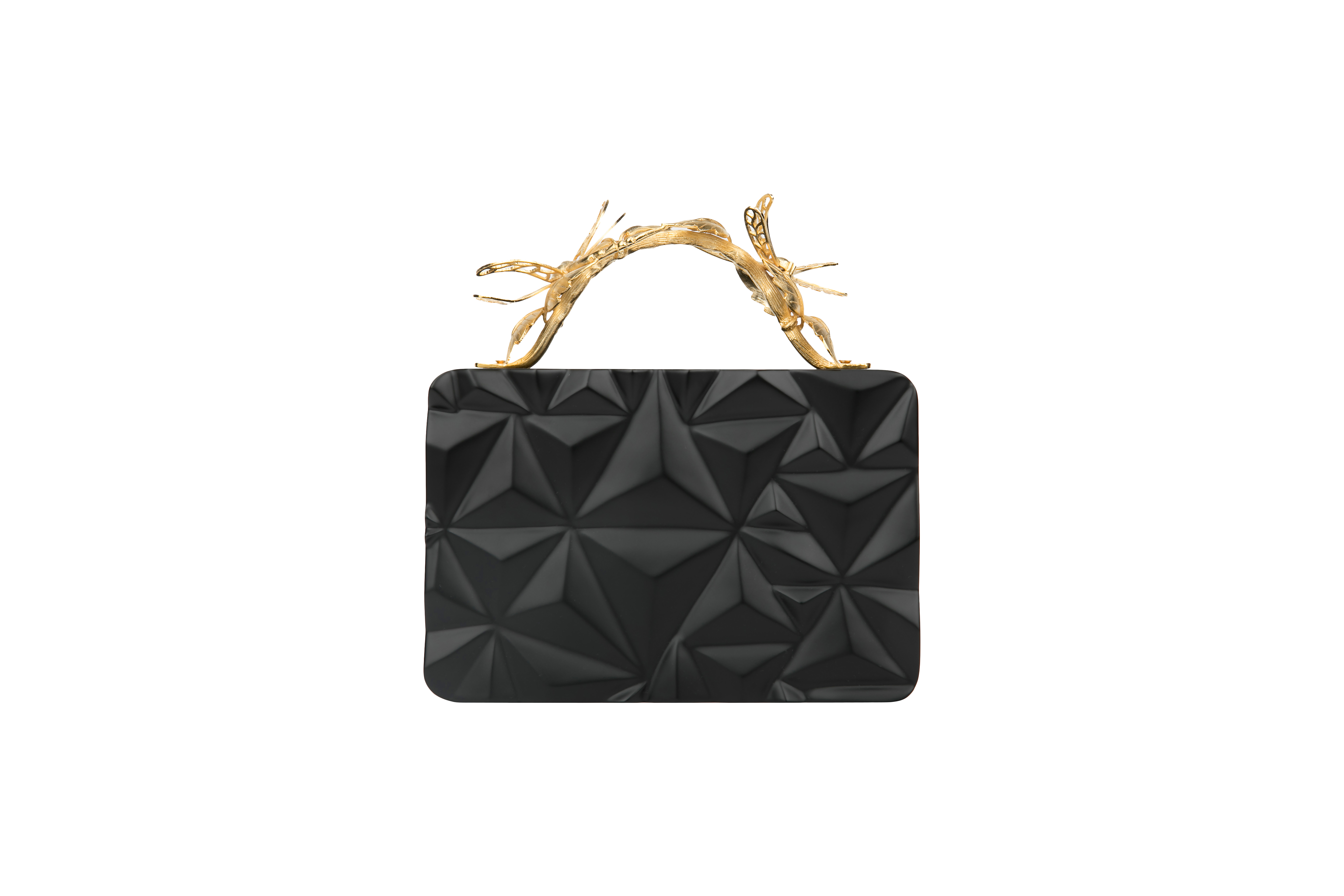 Triangle Black Grasshopper Clutch by Duet Luxury on curated-crowd.com