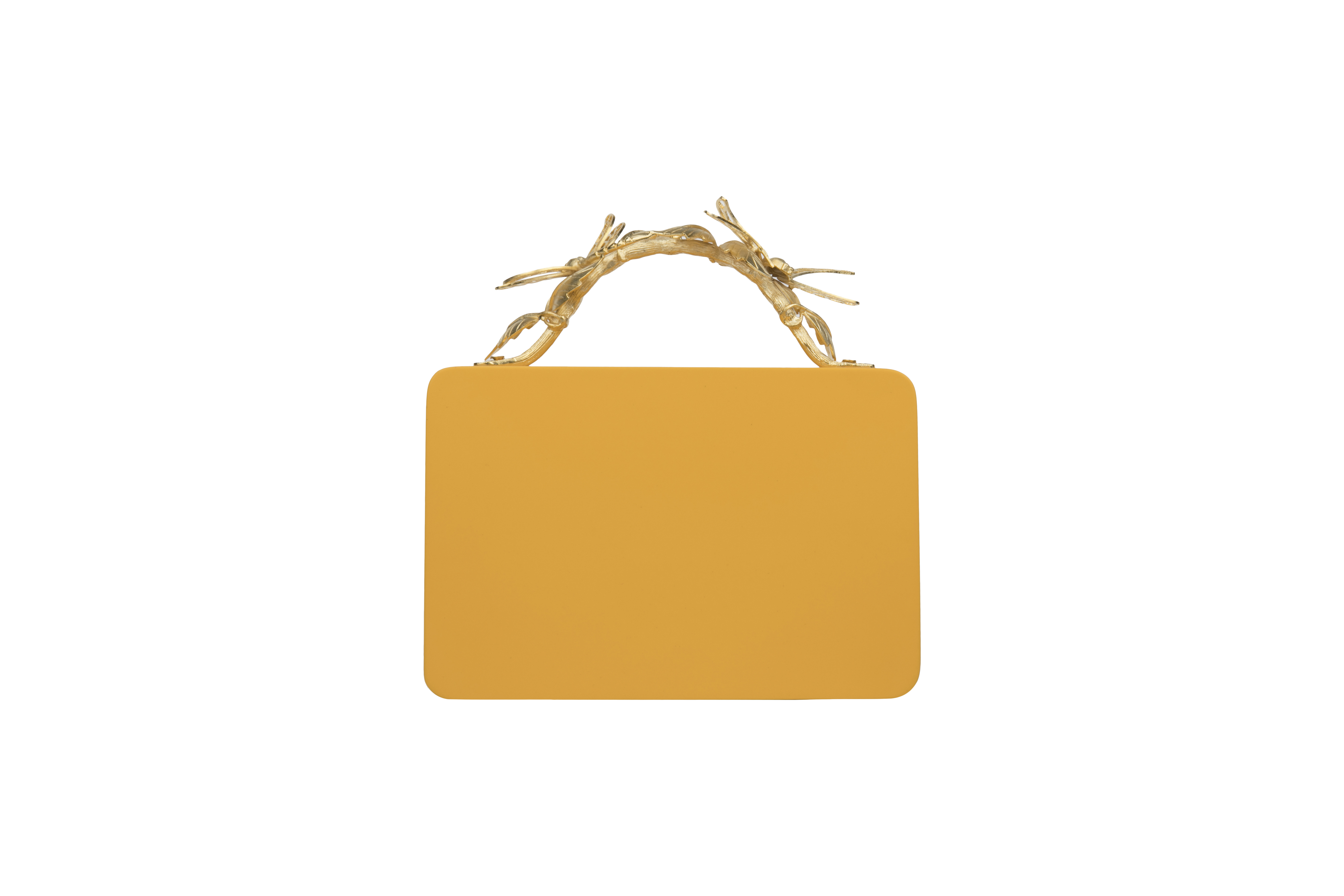Triangle Yellow Grasshopper clutch by Duet Luxury on curated-crowd.com