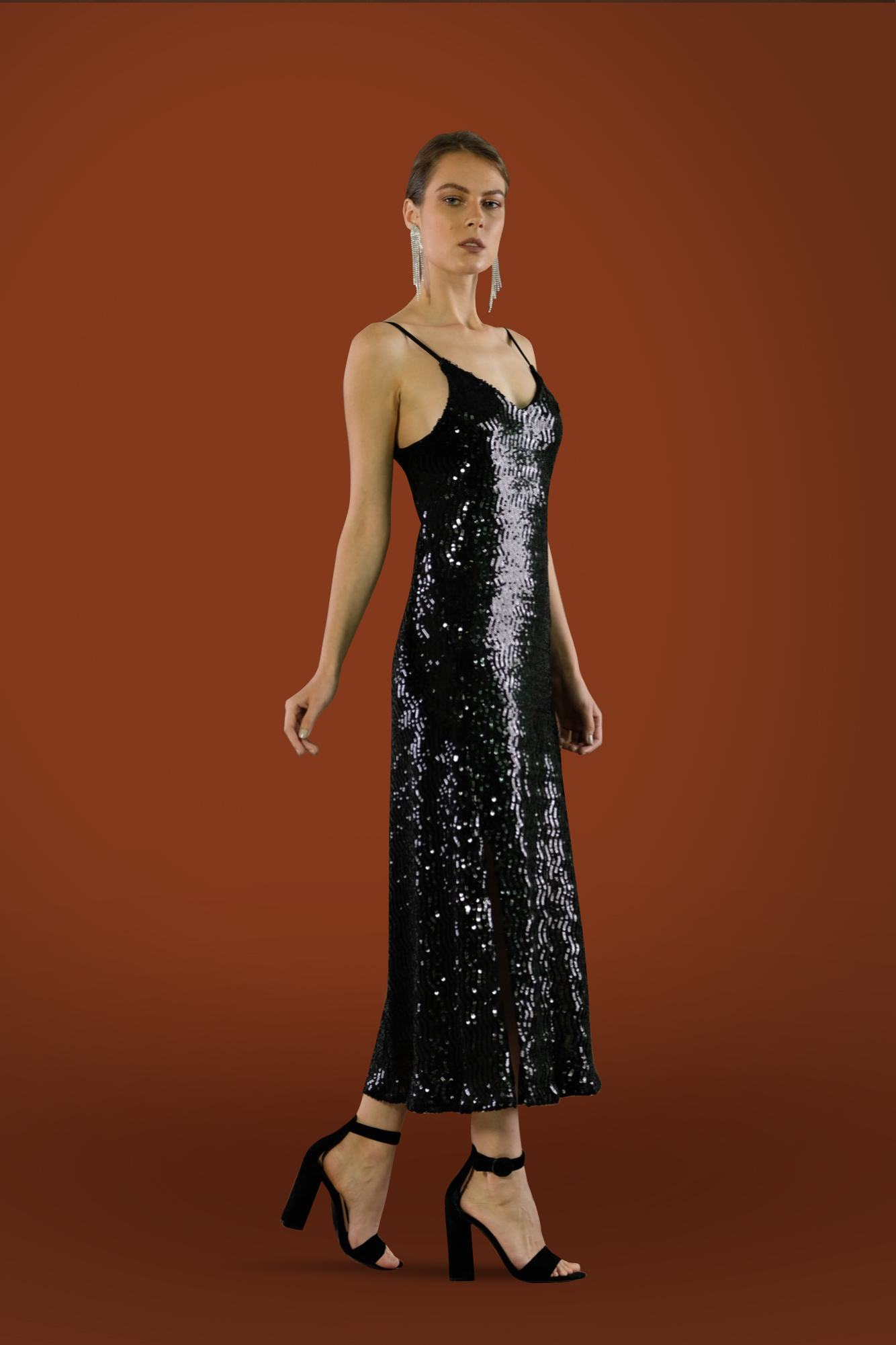 Sequin Midi Slip Dress by Kimi Kimonos on curated-crowd.com