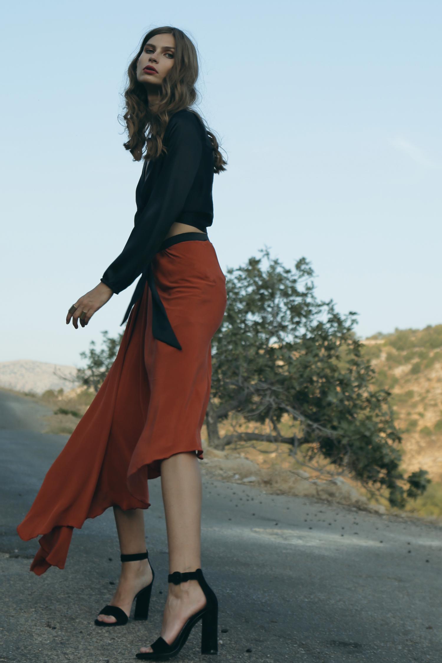 Silk Asymmetric Skirt by Kimi Kimonos on curated-crowd.com
