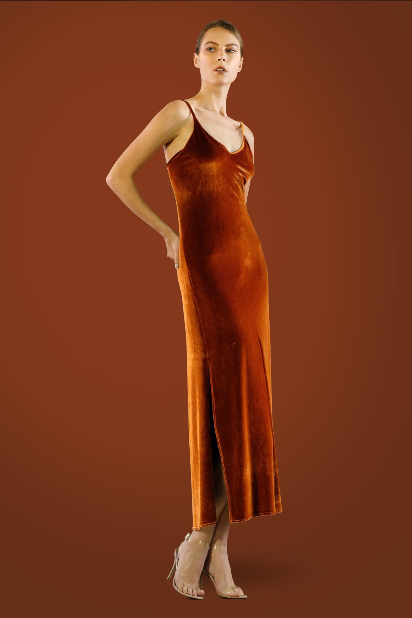 Velvet Slip Dress by Kimi Kimonos on curated-crowd.com