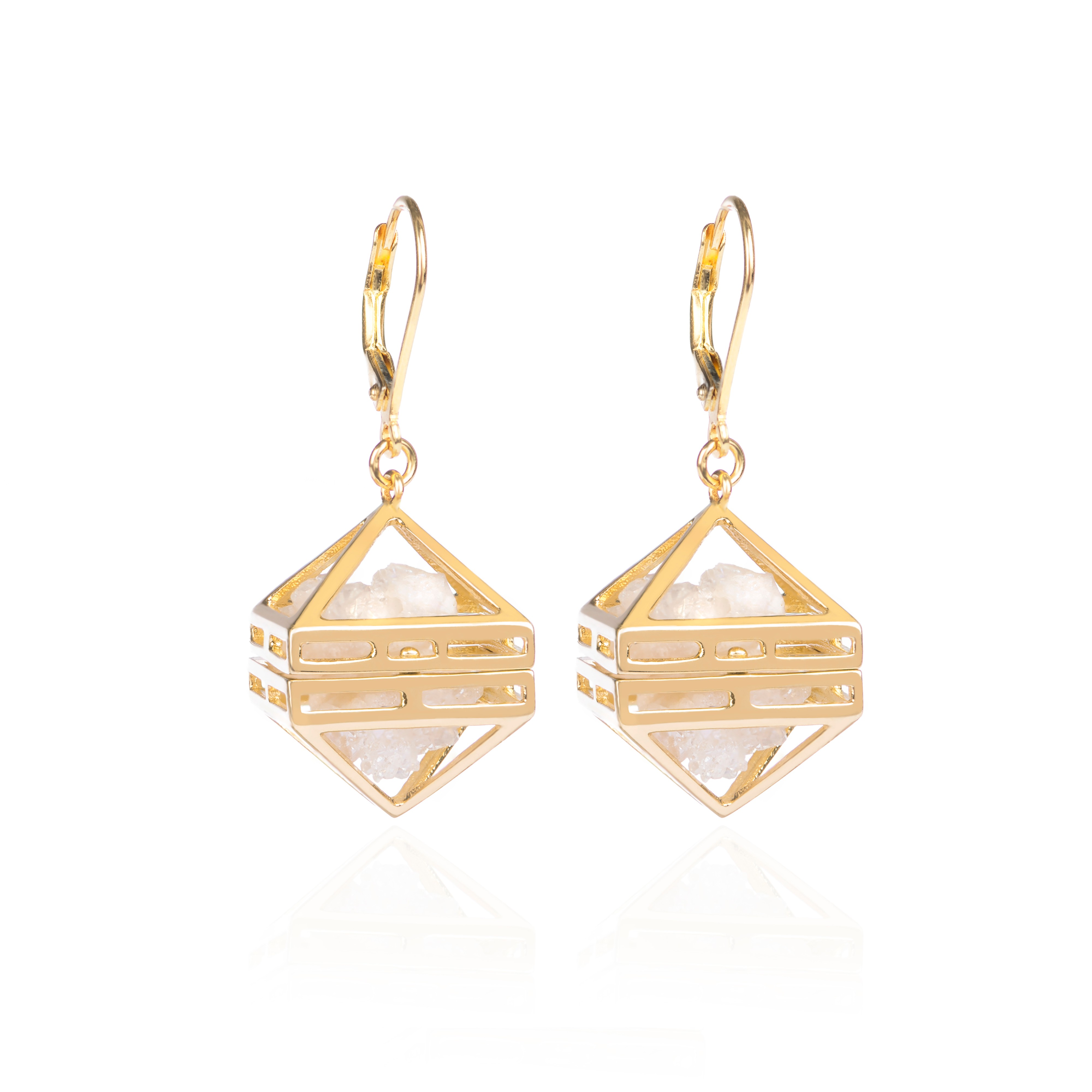 White Beauty Within Earrings, Gold by Sally Lane Jewellery on curated-crowd.com