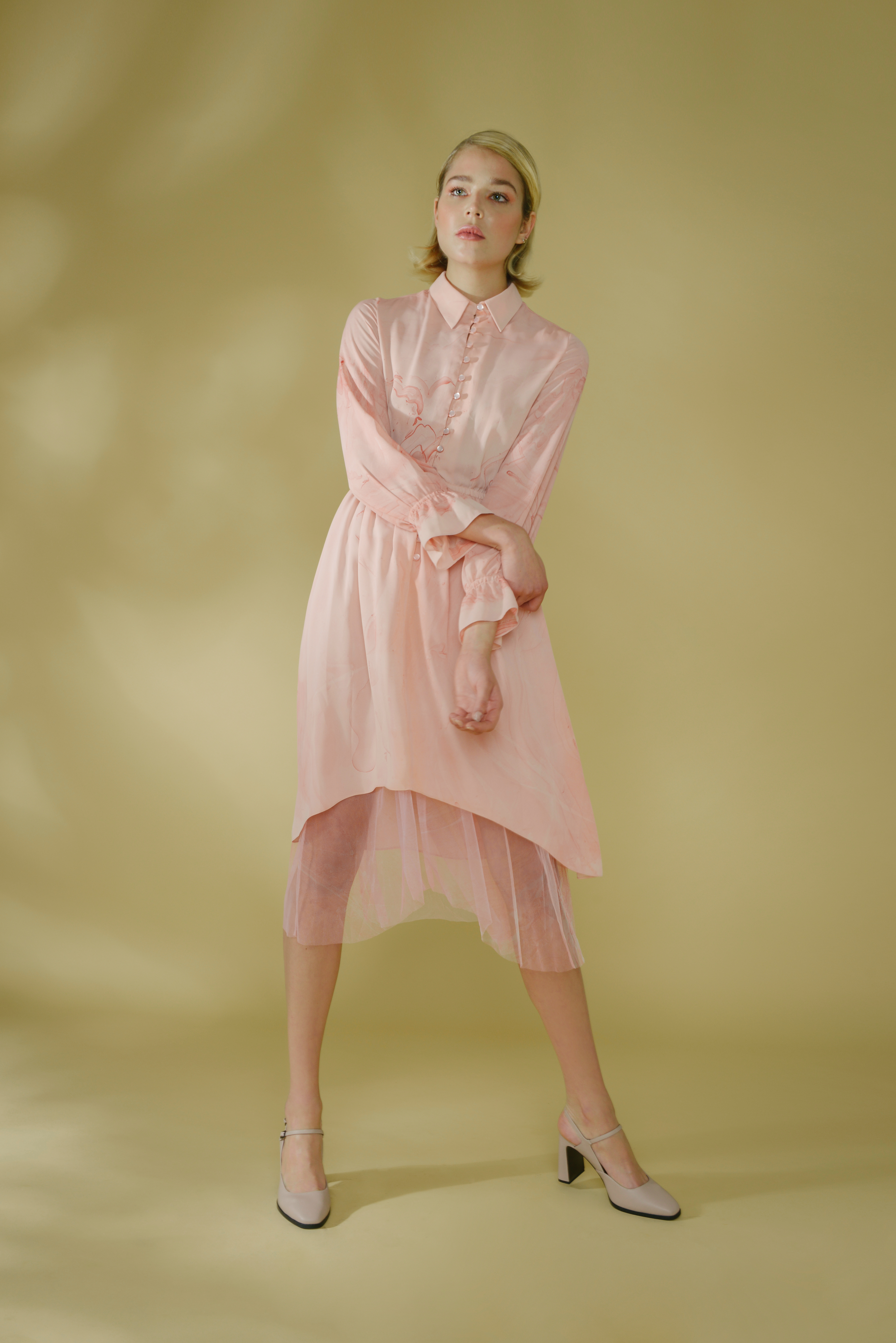 Marbled Button Up Dress by Edward Mongzar on curated-crowd.com