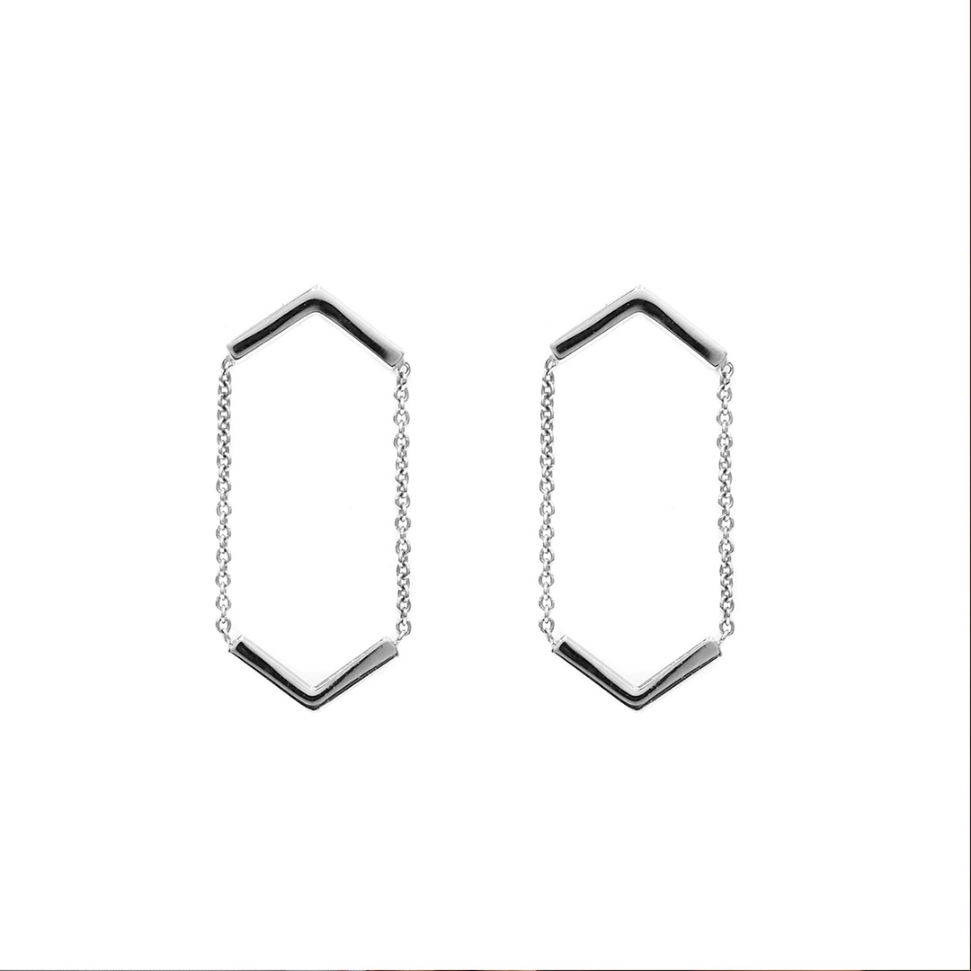 Line Earrings, Silver by The Straits Finery on curated-crowd.com